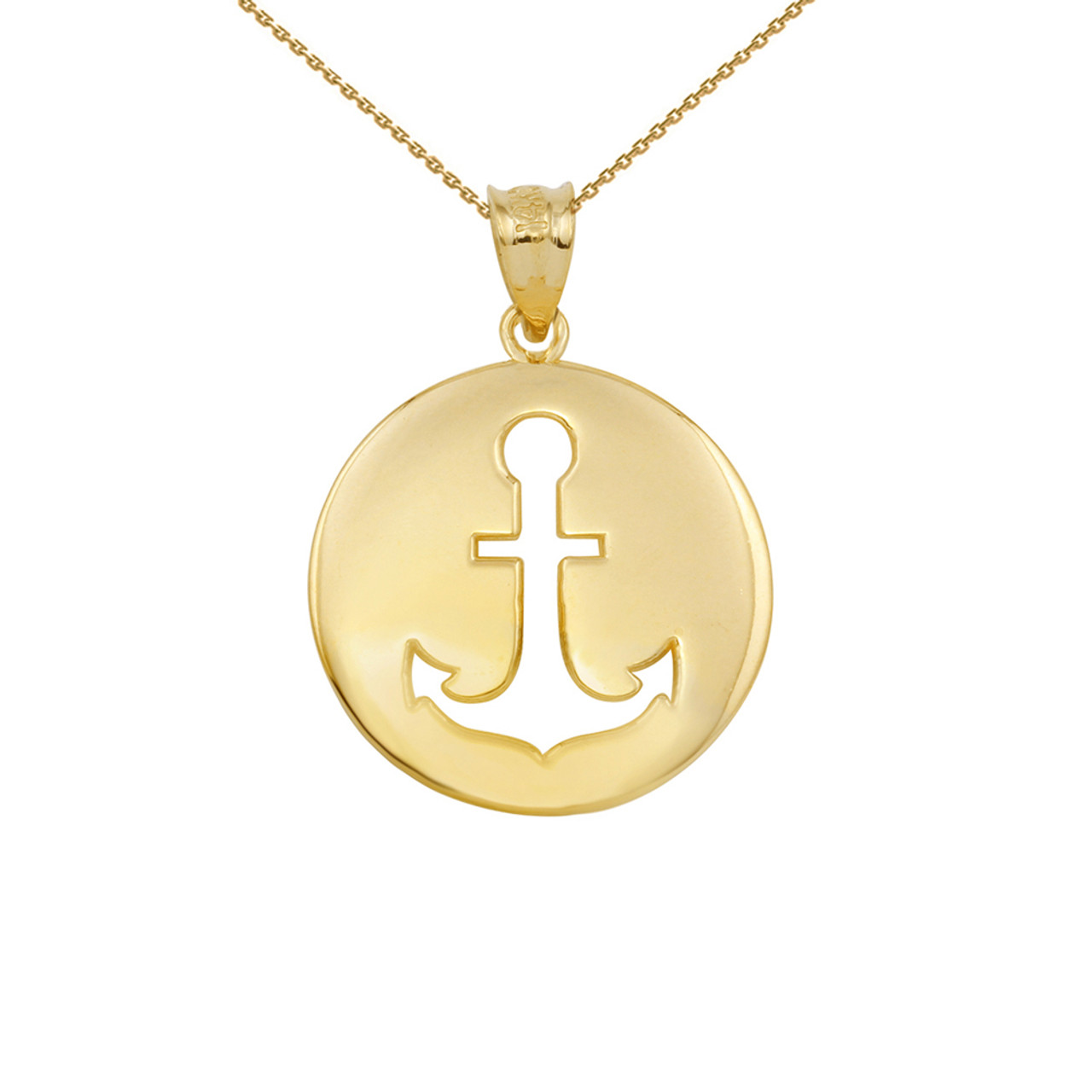 Yellow gold anchor silhouette circle pendant necklace aloadofball Gallery