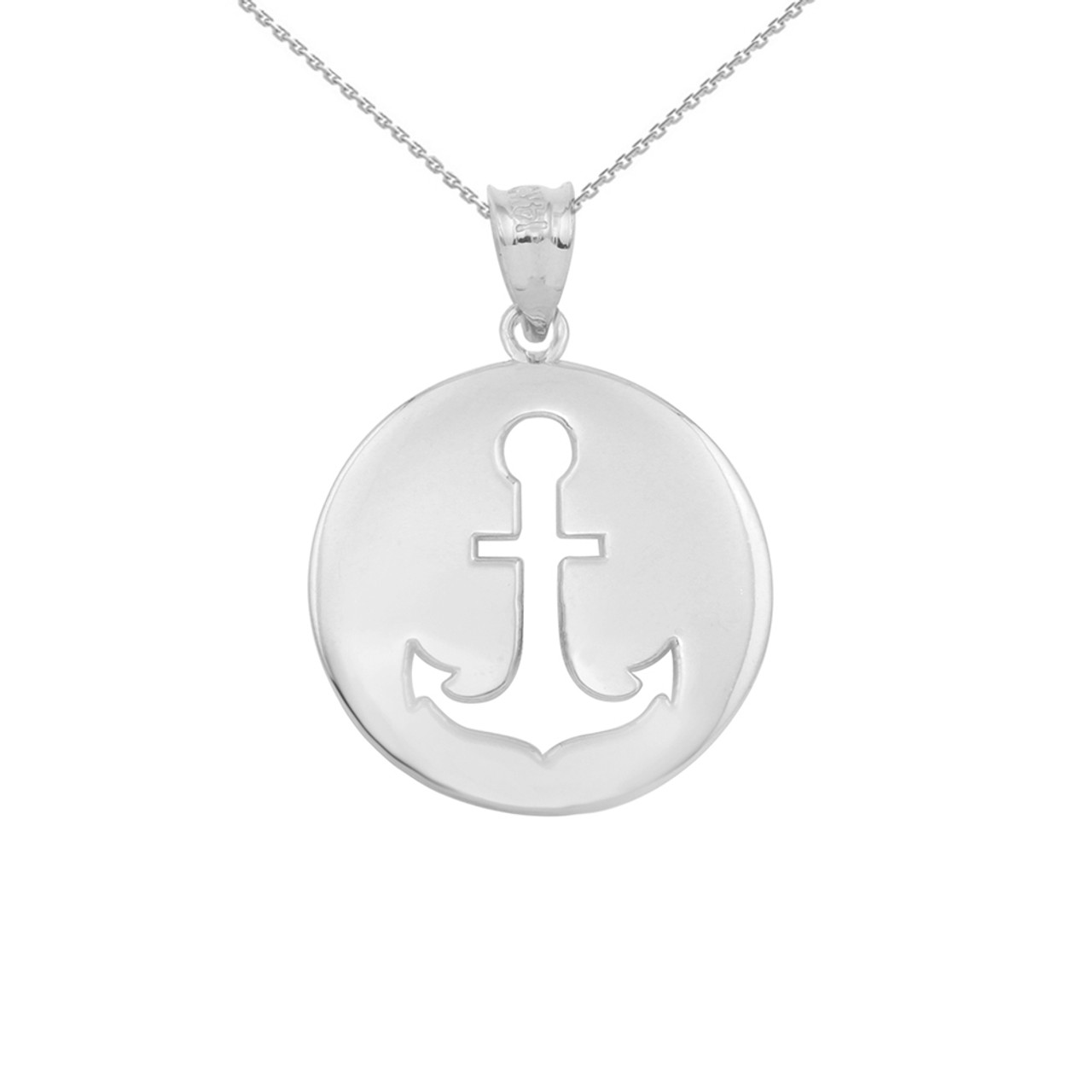 White gold anchor silhouette circle pendant necklace aloadofball Gallery