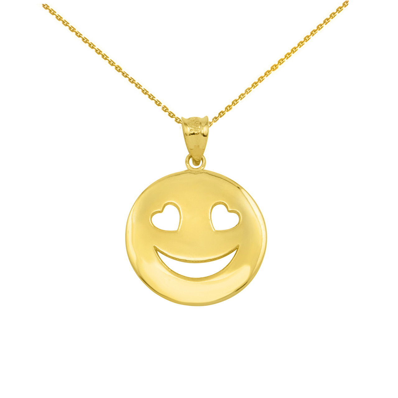 Yellow gold heart eyes smiley face pendant necklace aloadofball