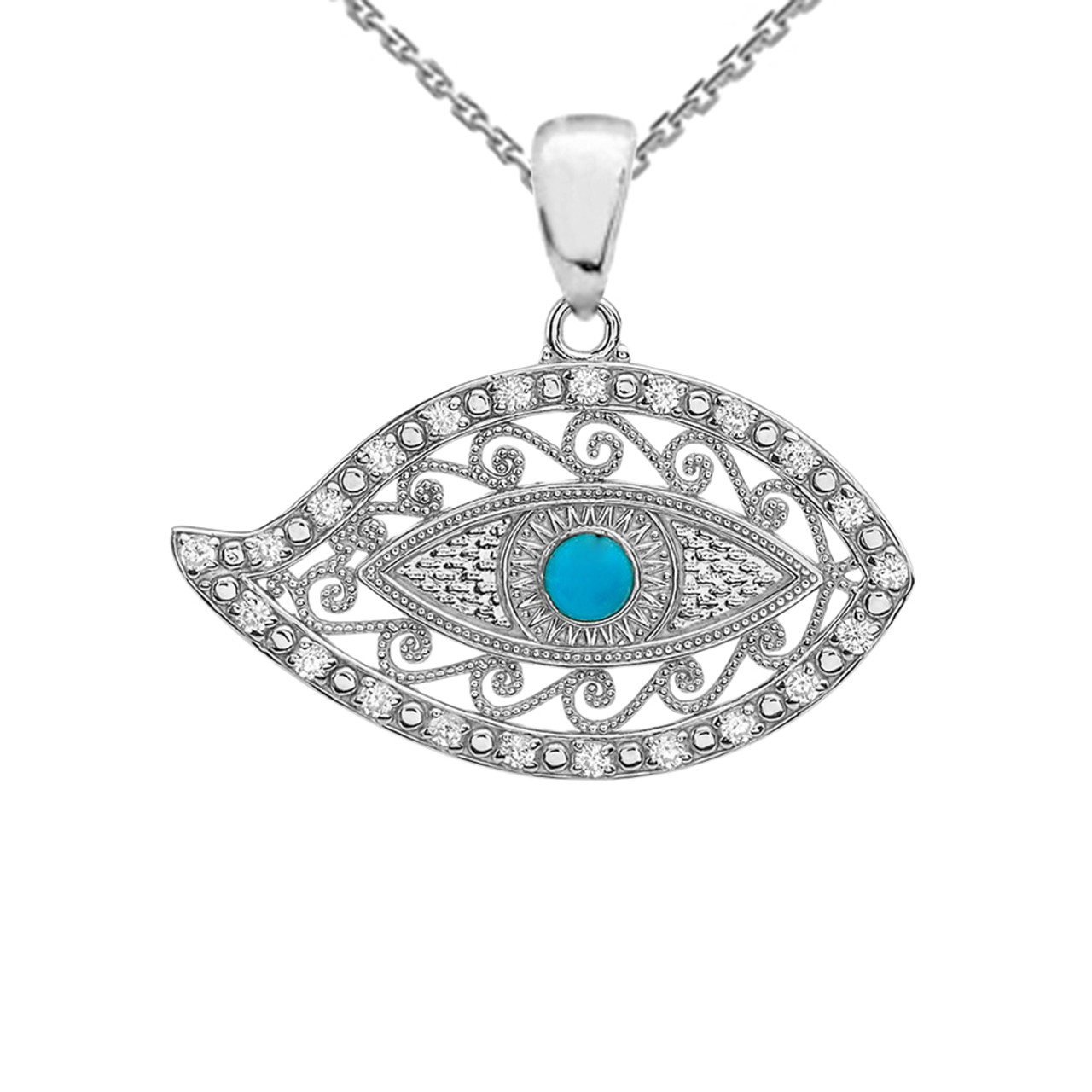White gold evil eye diamond pendant necklace with turquoise center stone aloadofball Image collections