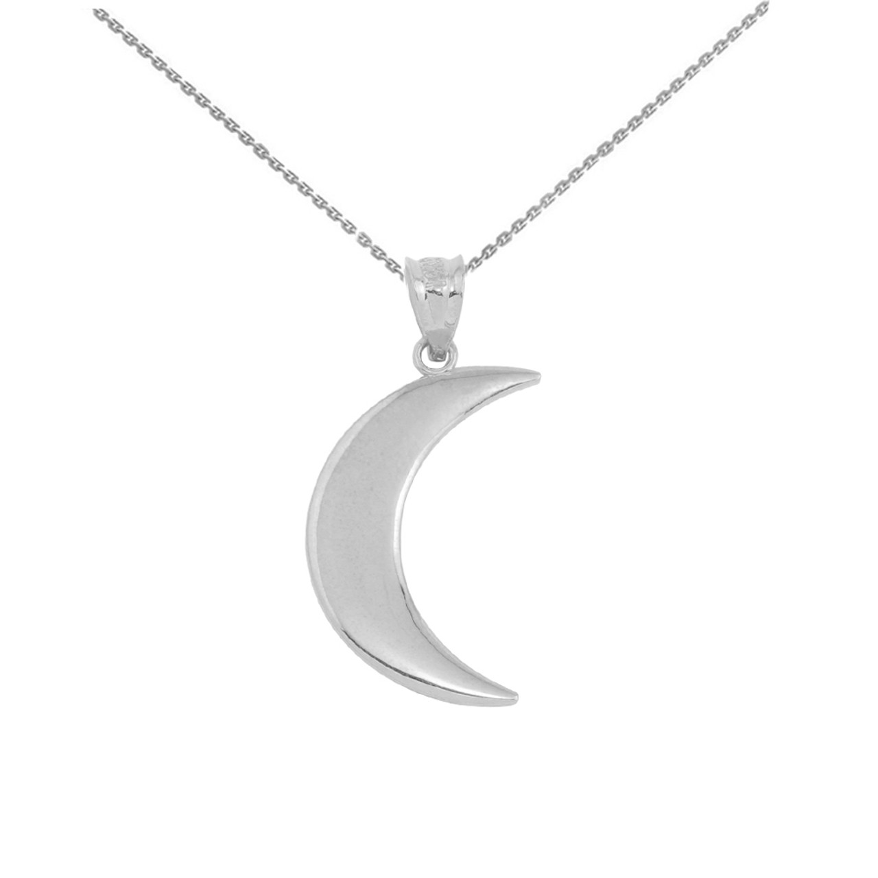 w silver chain crescent moon pendant necklace gold sterling