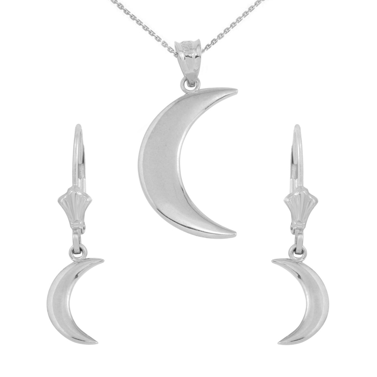 Sterling silver crescent moon pendant necklace earring set aloadofball Gallery