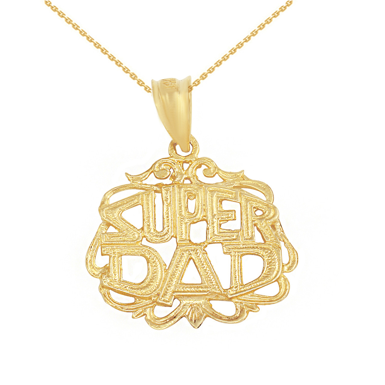 Solid yellow gold super dad filigree pendant necklace mozeypictures Images