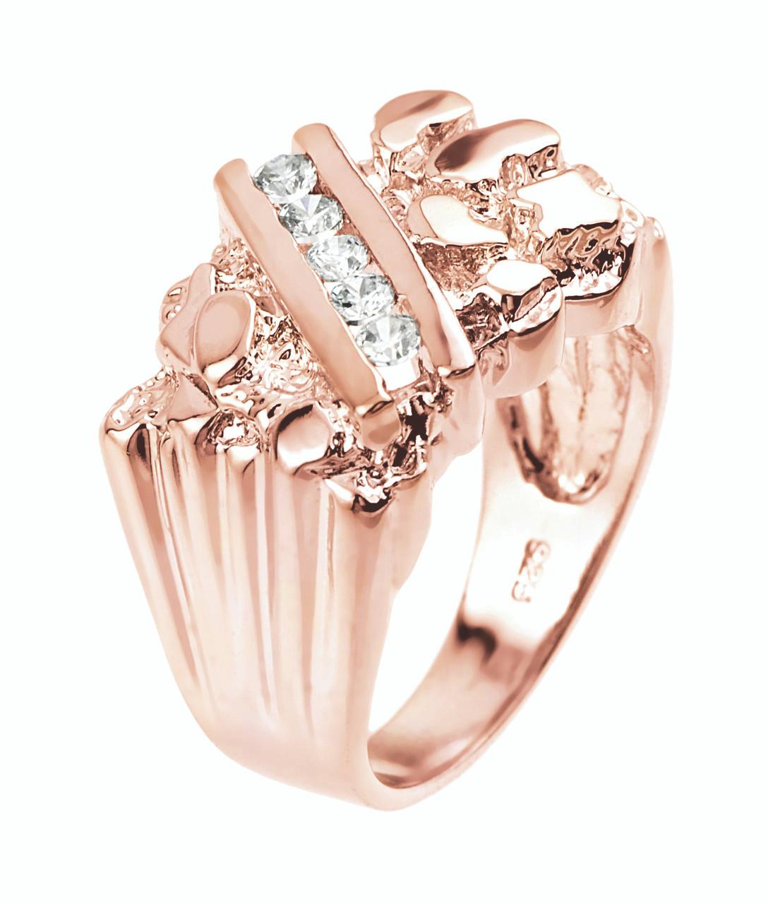 Rose Gold Cubic Zirconia Men\'s Signet Nugget Ring