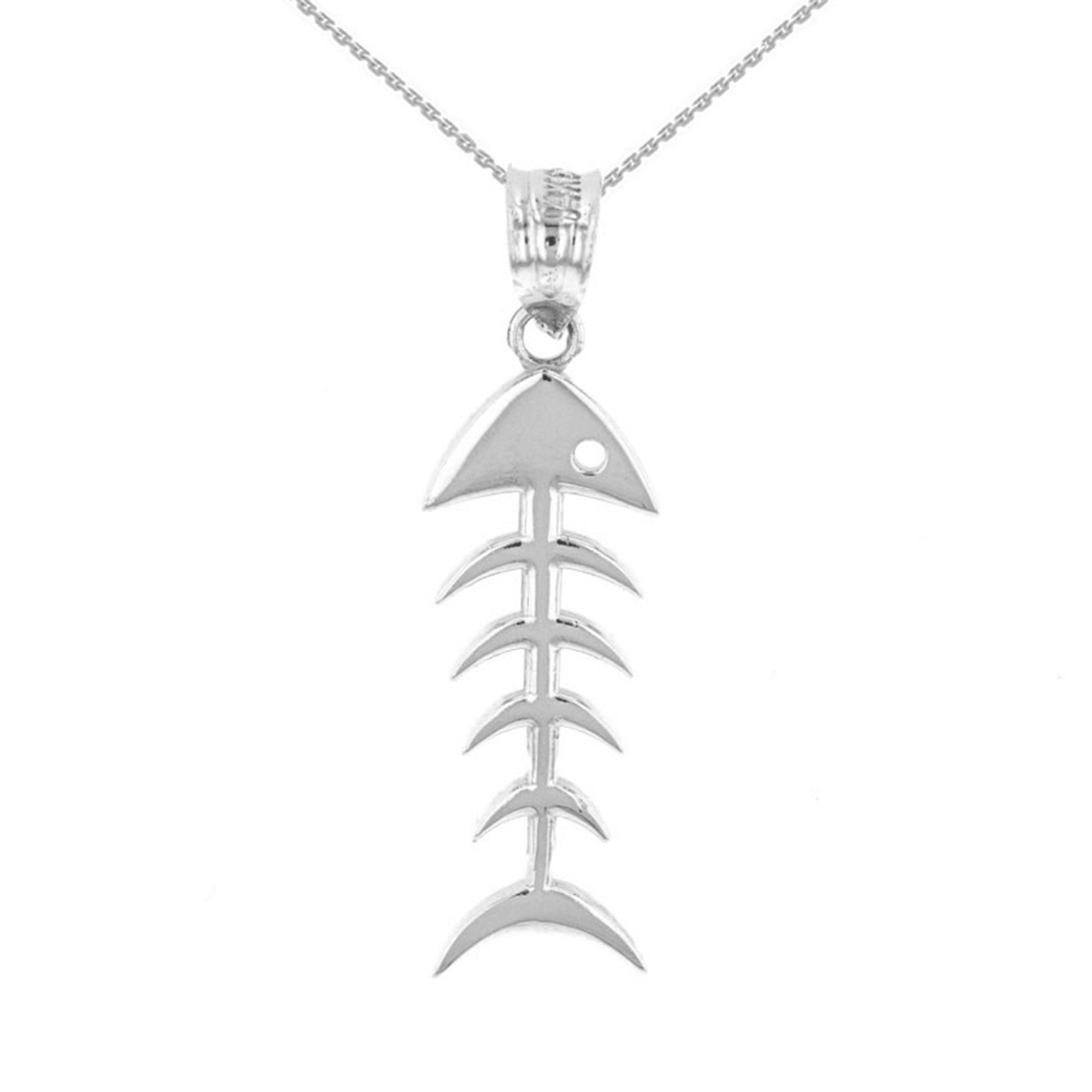 Sterling silver fish bone skeleton pendant necklace aloadofball Gallery
