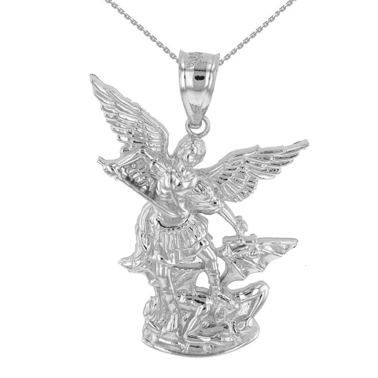 White gold st michael the archangel pendant necklace 135 aloadofball Gallery