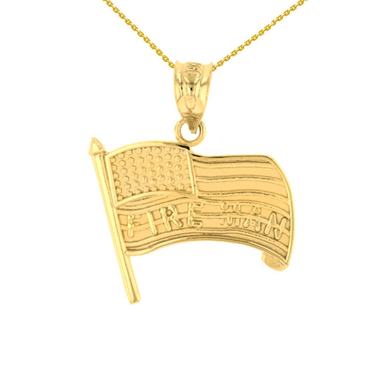 Yellow gold fire man american flag pendant necklace aloadofball Choice Image