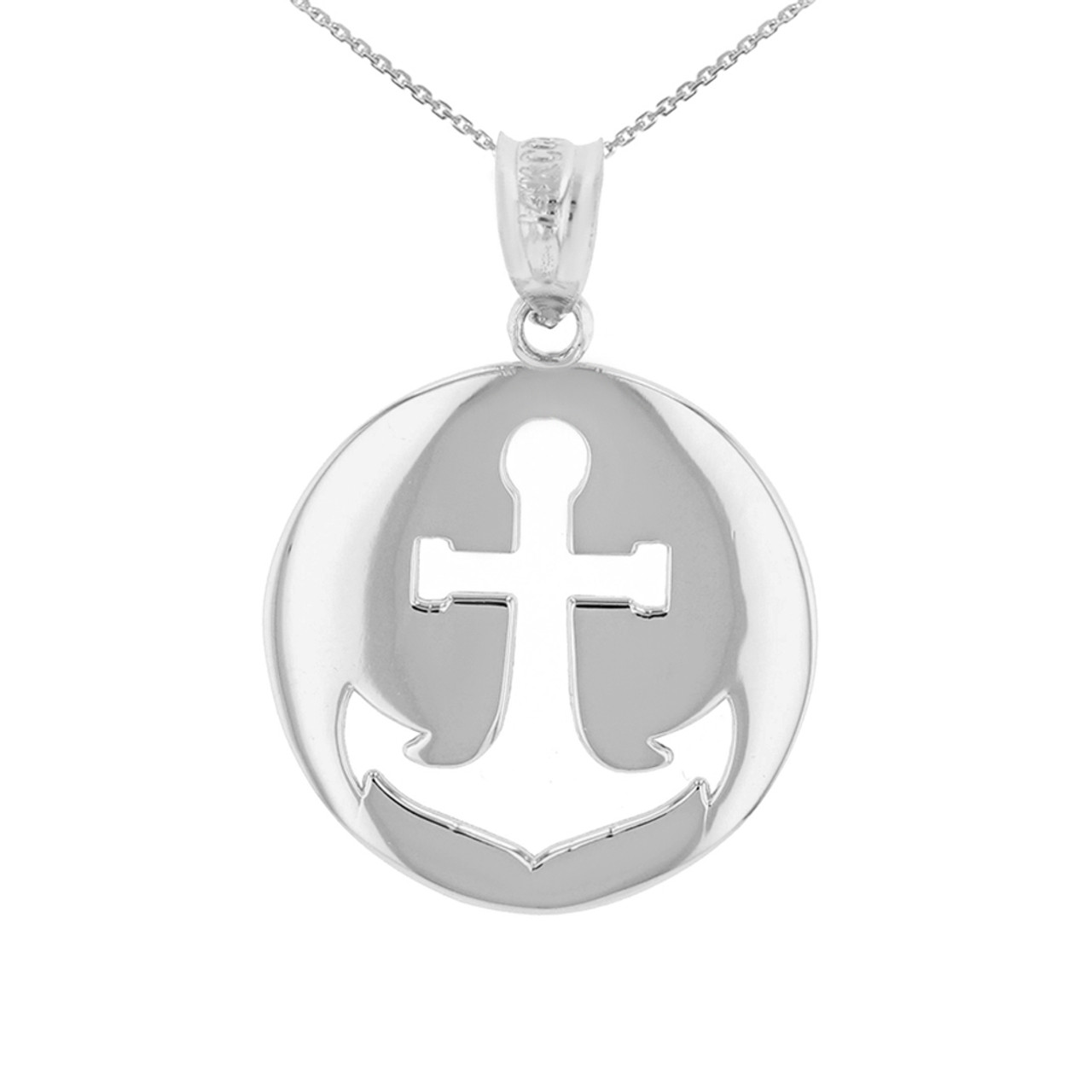 White gold anchor nautical pendant necklace aloadofball Image collections