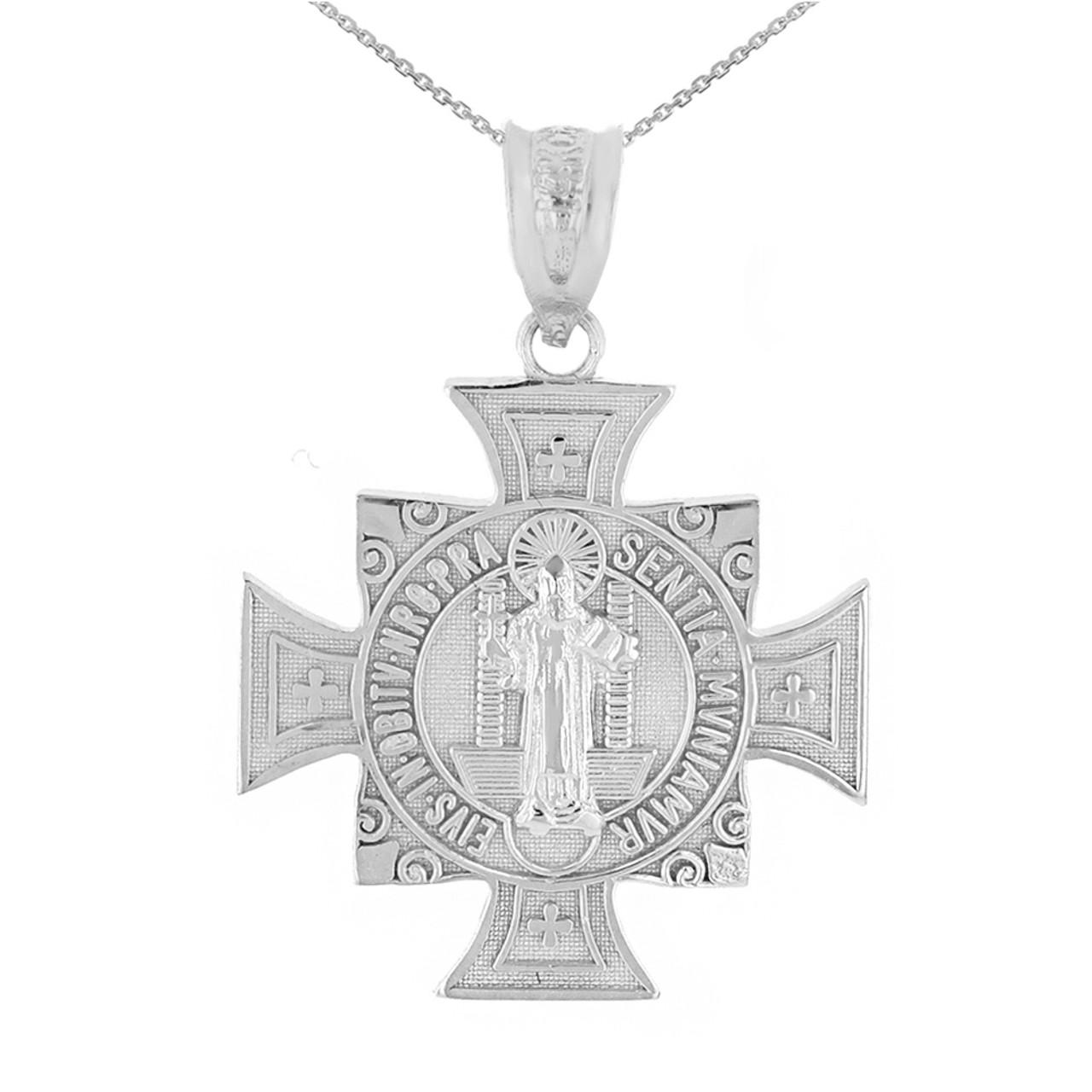 White gold saint benedict cross pendant necklace 106 aloadofball Gallery
