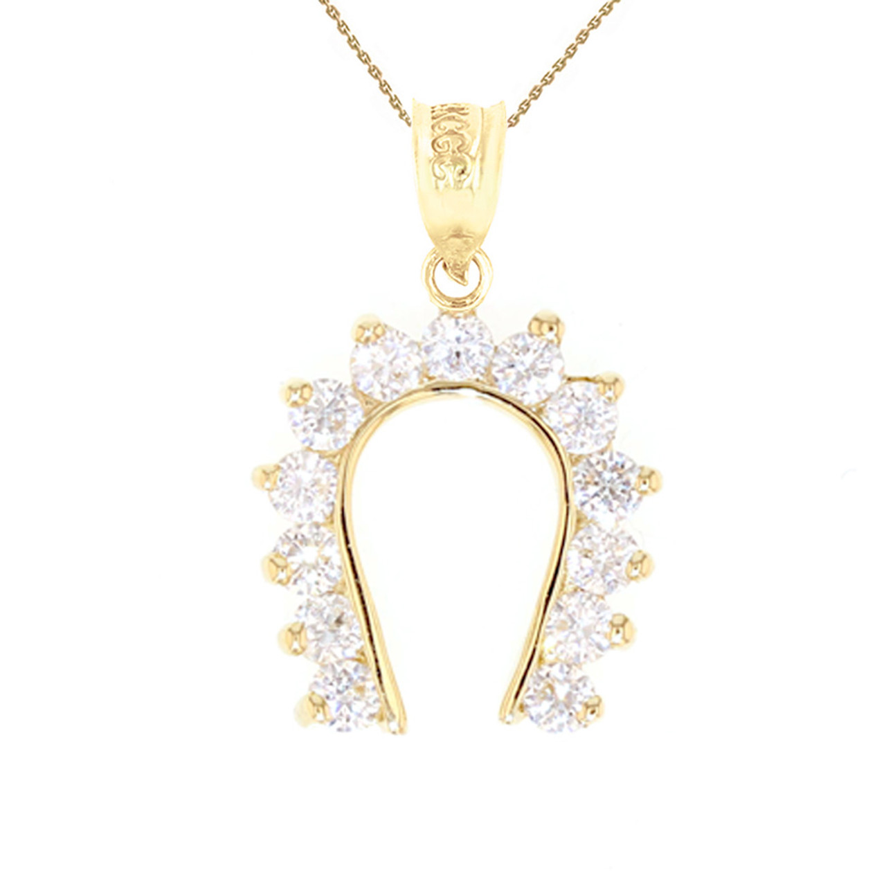 Yellow gold good luck horseshoe pendant necklace aloadofball Gallery