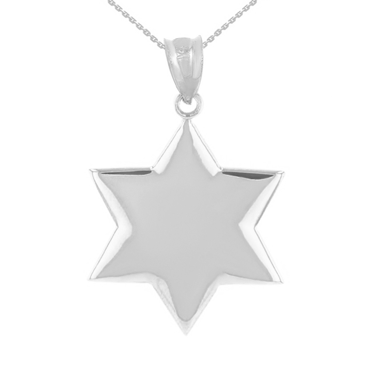 Solid white gold star pendant necklace mozeypictures Gallery