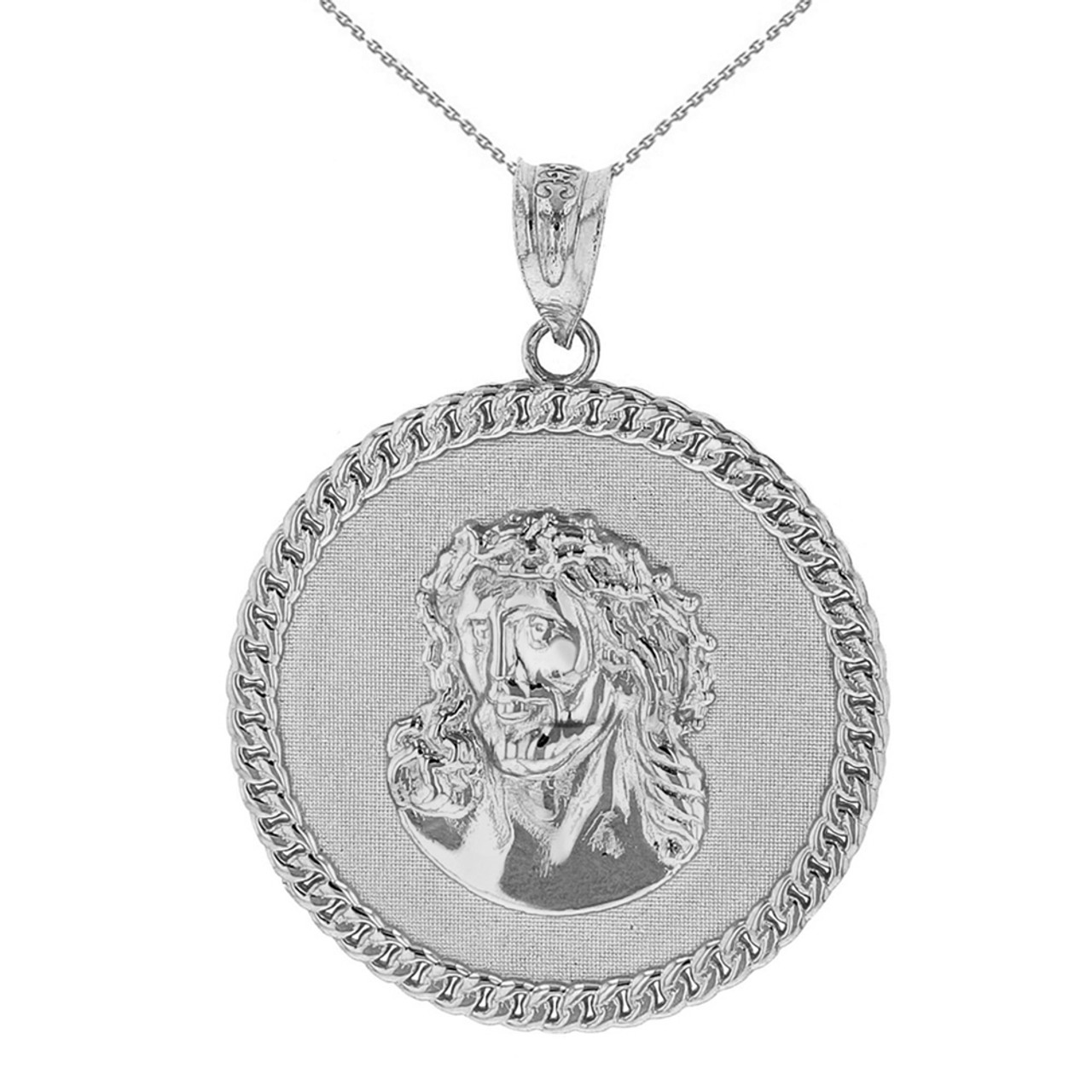 Sterling silver cuban curb link frame circle jesus christ medallion sterling silver cuban curb link frame circle jesus christ medallion pendant necklace aloadofball Choice Image