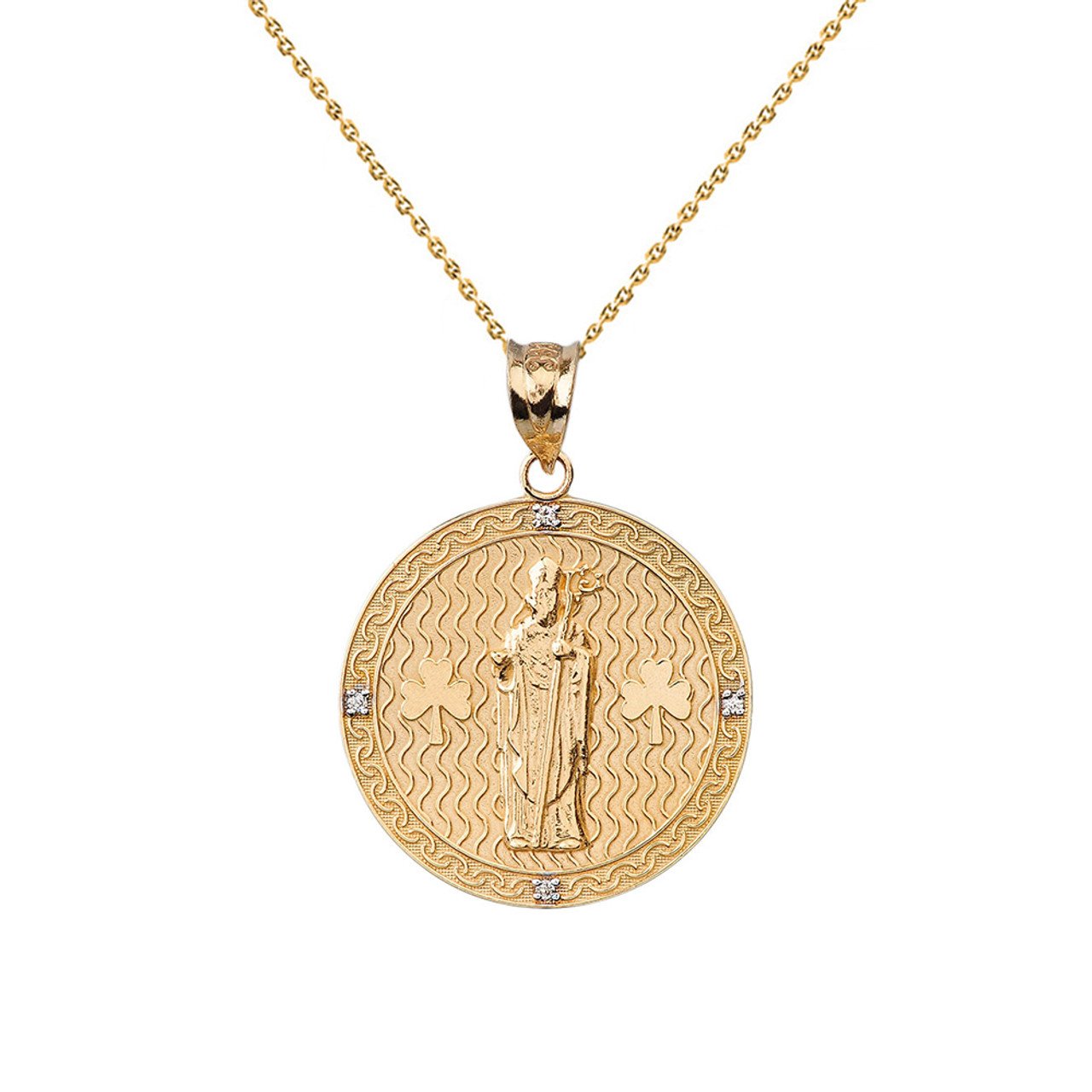Solid yellow gold saint patrick shamrock diamond medallion pendant solid yellow gold saint patrick shamrock diamond medallion pendant necklace 105 26 mm aloadofball Choice Image