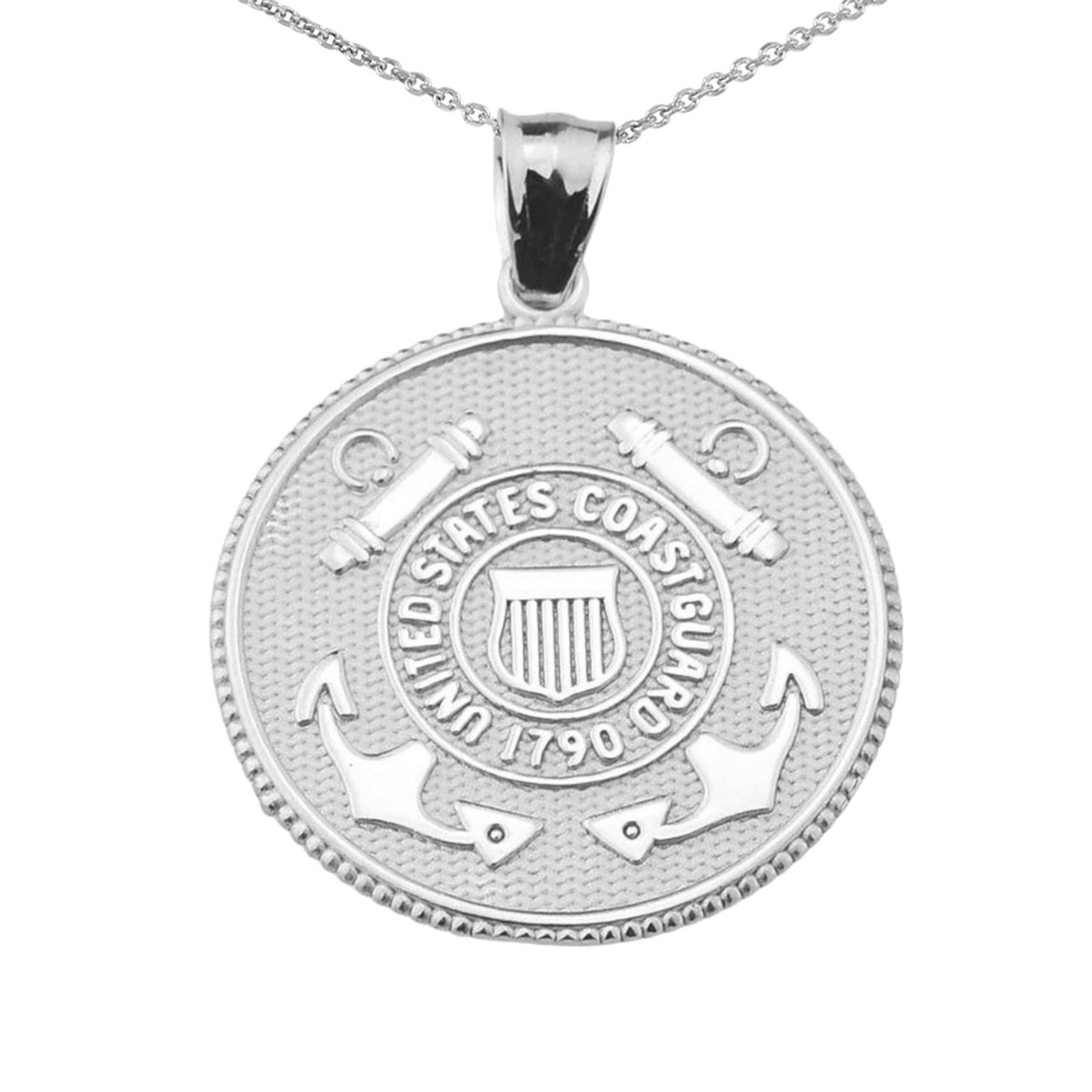 Us coast guard solid white gold disk pendant necklace us coast guard solid white gold coin pendant necklace aloadofball Images