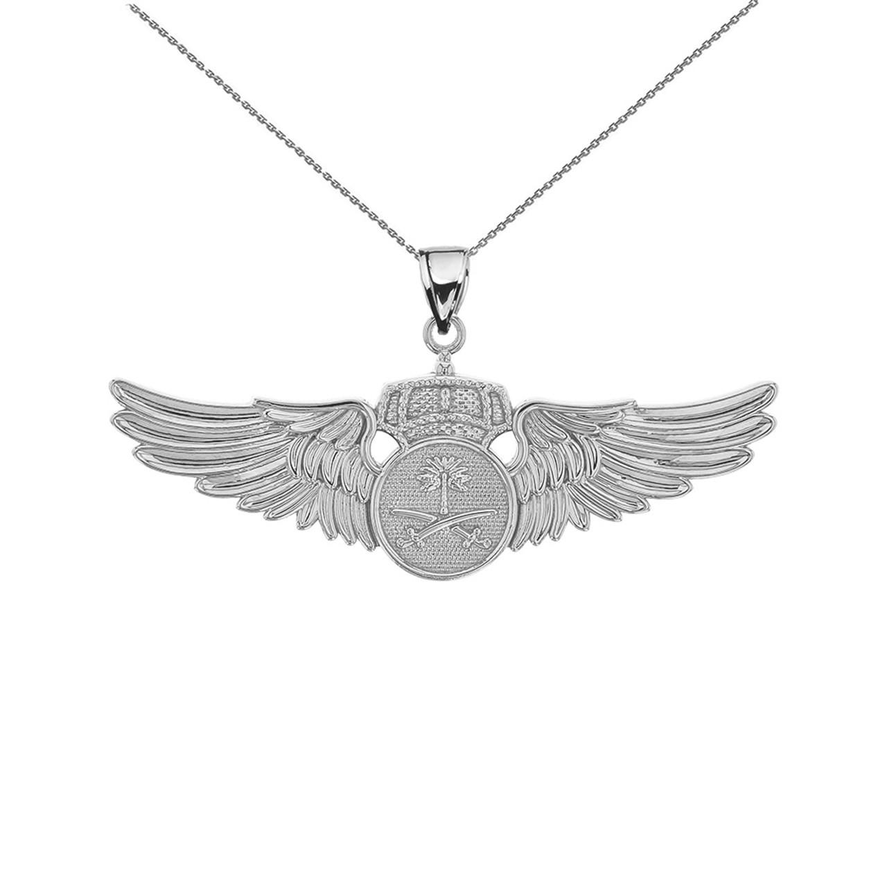White gold saudi arabian air force wings pendant necklace aloadofball Choice Image