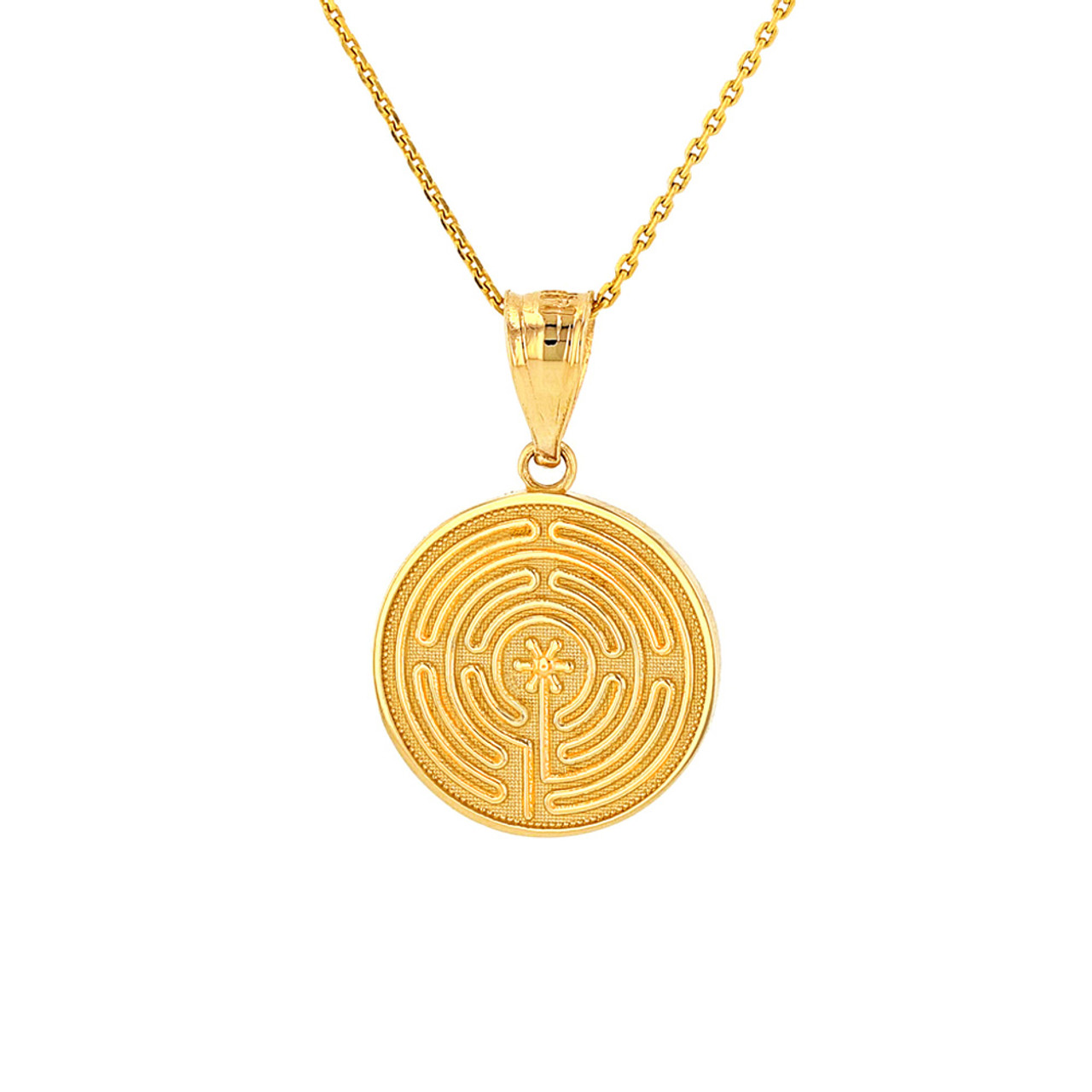 Solid yellow gold chartres labyrinth dainty disc medallion pendant solid yellow gold chartres labyrinth dainty disc medallion pendant necklace aloadofball Choice Image