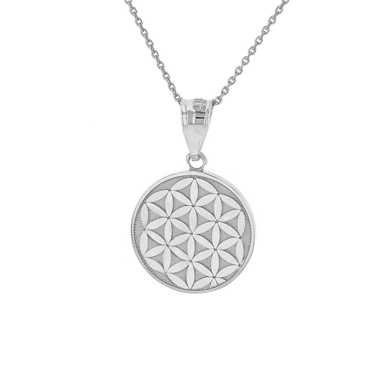 Solid white gold flower of life dainty disc medallion pendant necklace mightylinksfo