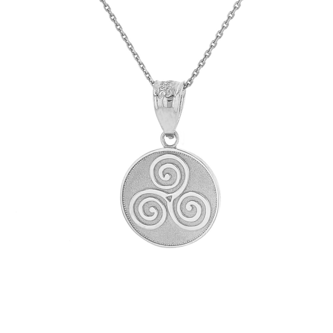 Solid white gold celtic triple spiral triskele irish knot disc solid white gold celtic triple spiral triskele irish knot disc medallion pendant necklace aloadofball Choice Image