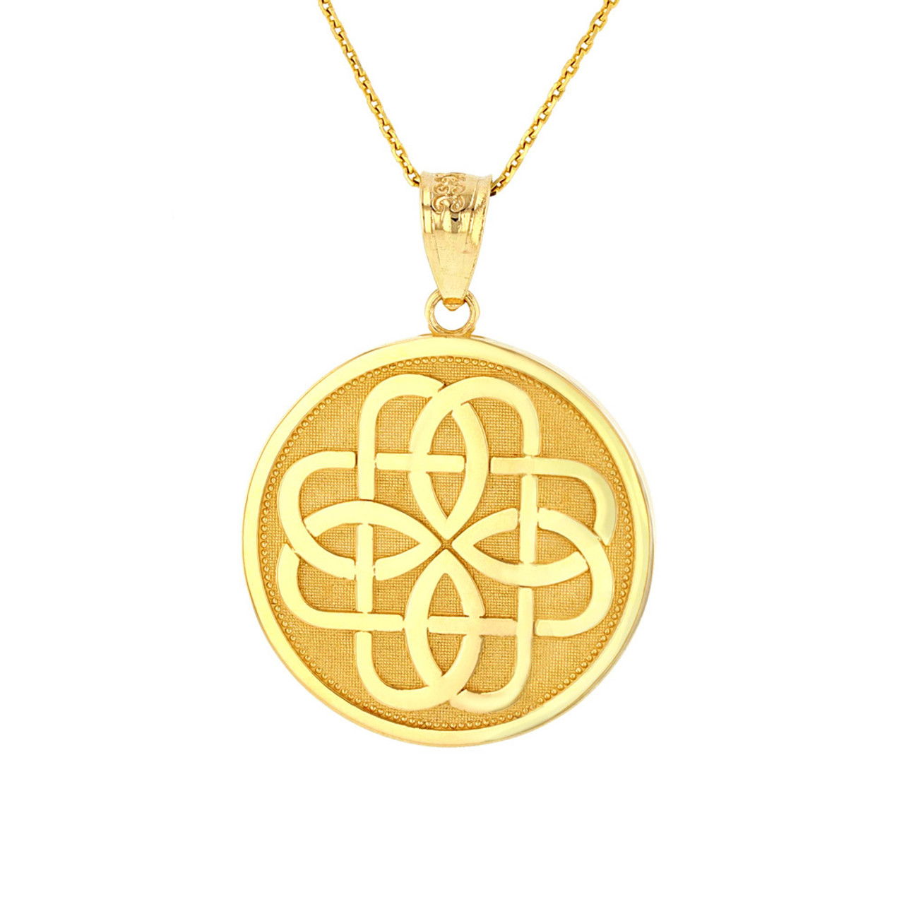Solid yellow gold celtic knot flower medallion pendant necklace aloadofball Choice Image
