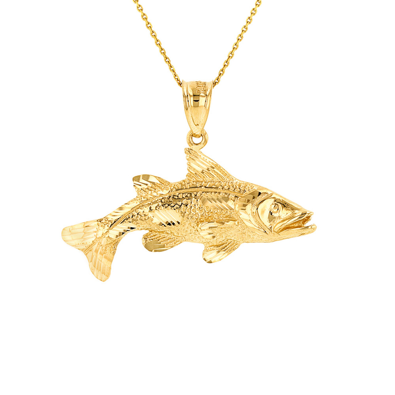 Solid yellow gold diamond cut largemouth bass fish pendant for Solid gold fish
