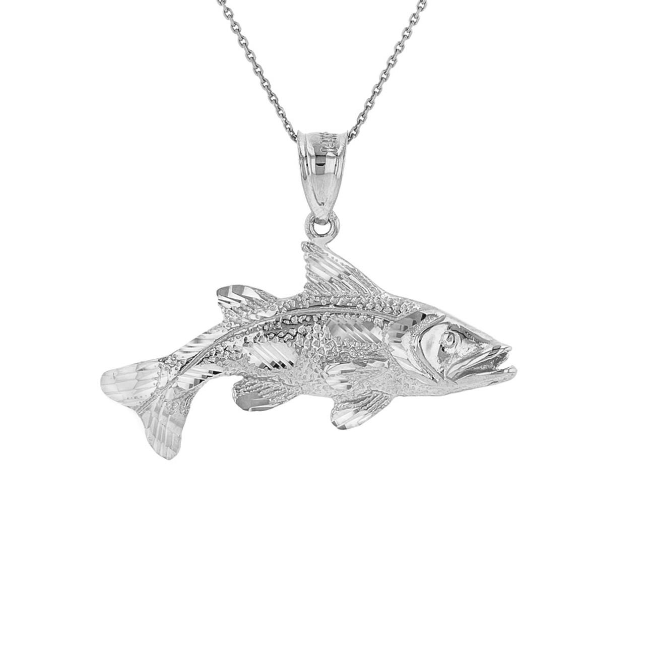 Sterling silver diamond cut largemouth bass fish pendant necklace aloadofball Image collections
