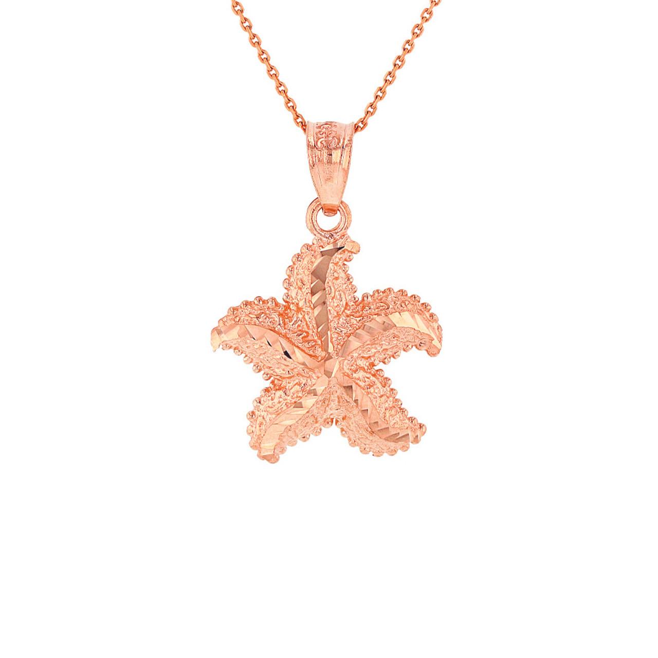 Solid rose gold diamond cut ocean starfish pendant necklace aloadofball Choice Image