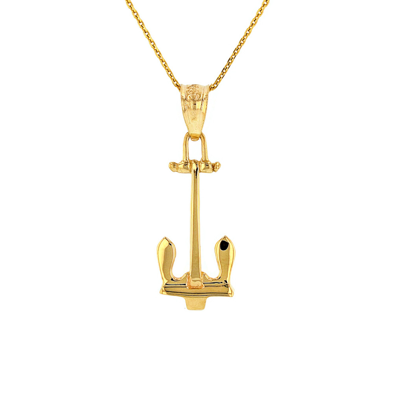 Solid yellow gold us navy stockless anchor pendant necklace mozeypictures Images