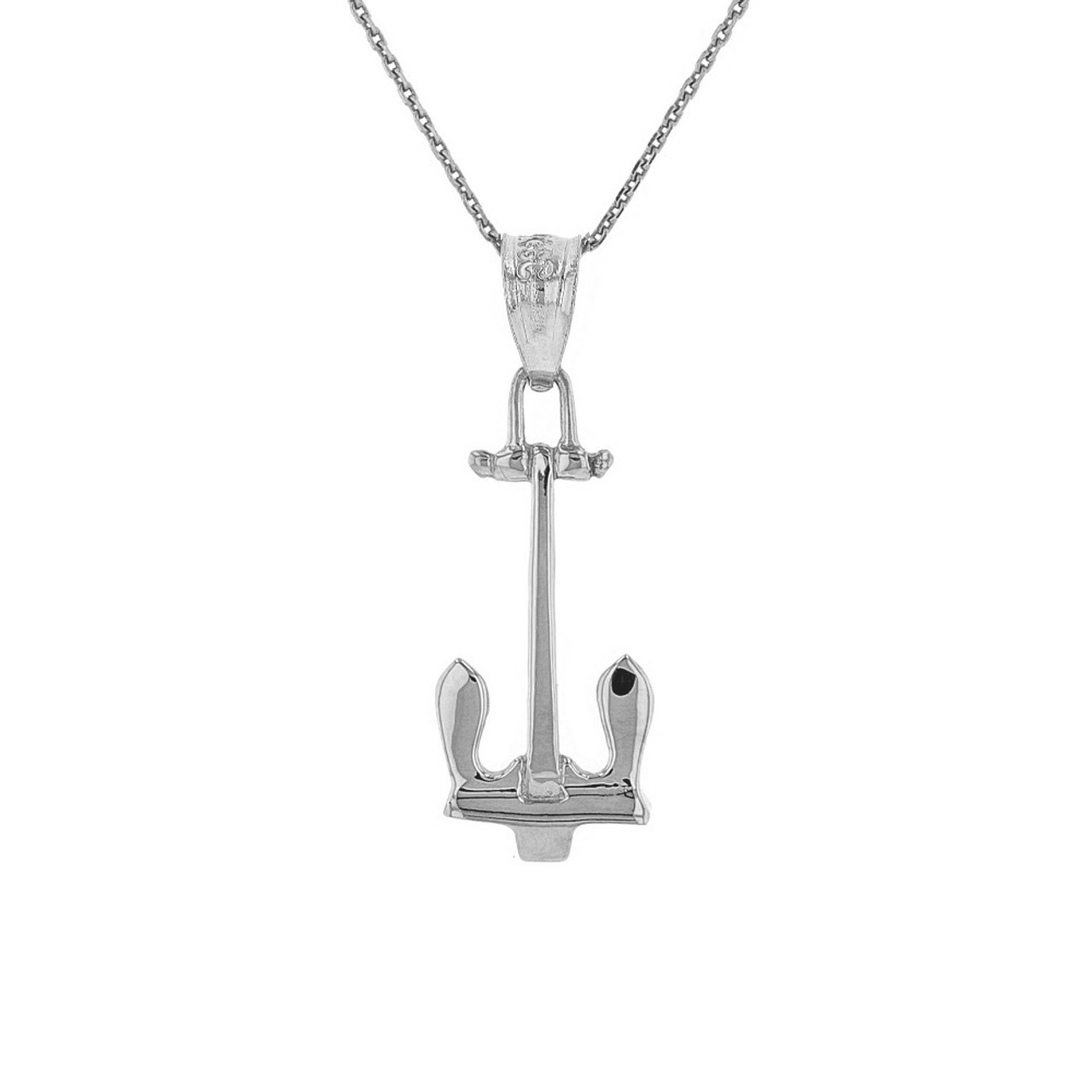 Sterling silver us navy stockless anchor pendant necklace aloadofball Image collections