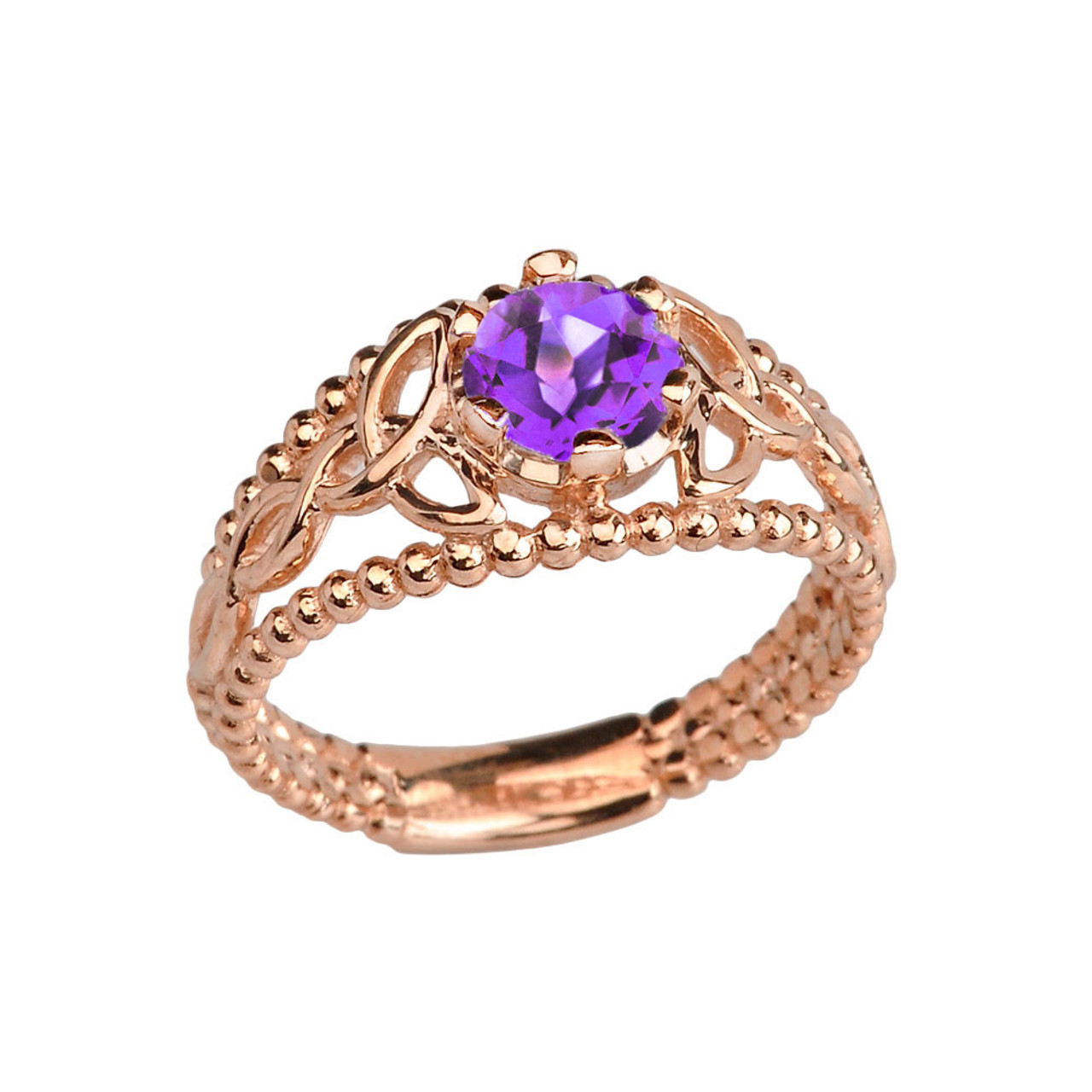 rose gold genuine amethyst beaded celtic trinity knot engagement promise ring. Black Bedroom Furniture Sets. Home Design Ideas