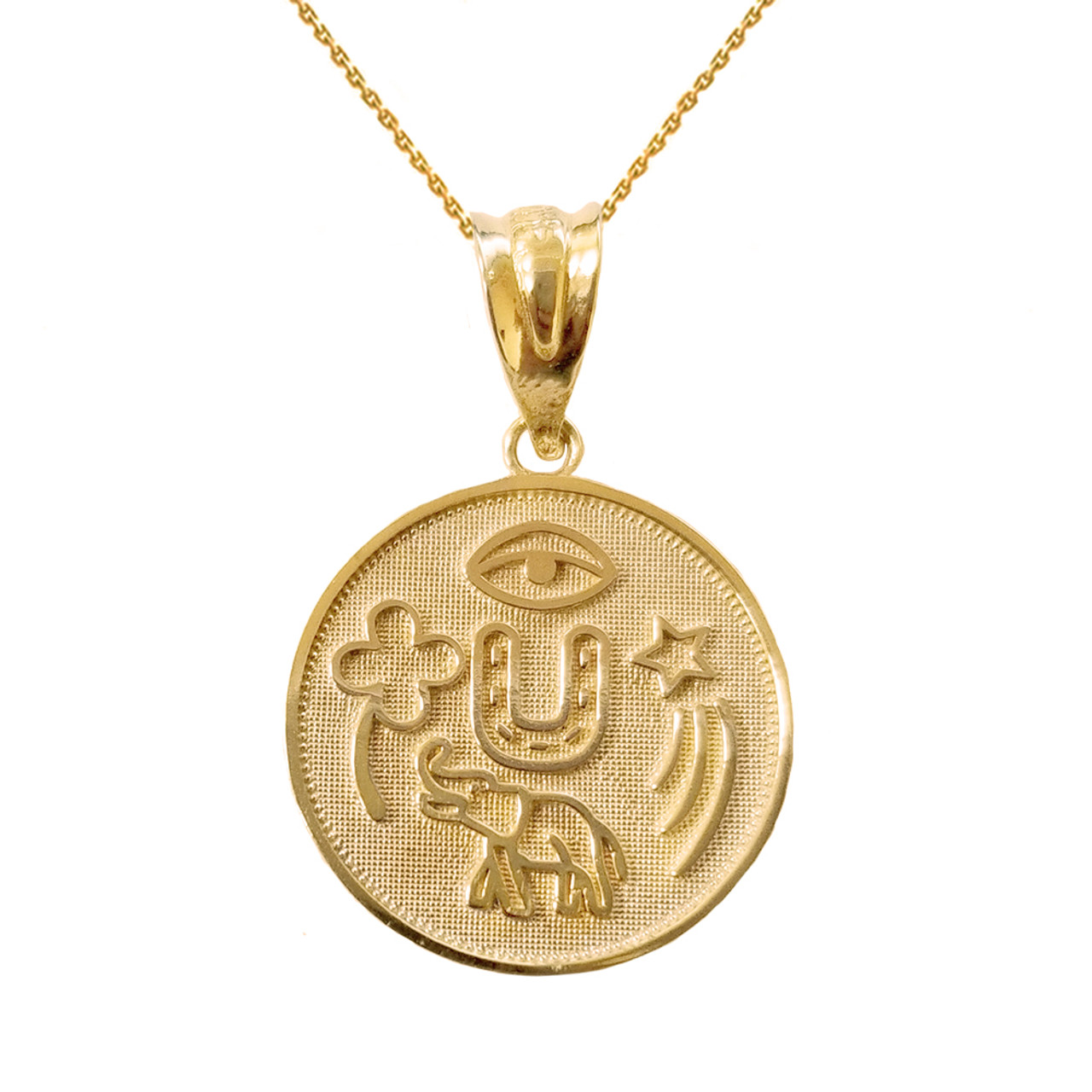 Solid yellow gold lucky charms amulet good luck disc medallion solid yellow gold lucky charms amulet good luck disc medallion pendant necklace aloadofball Image collections