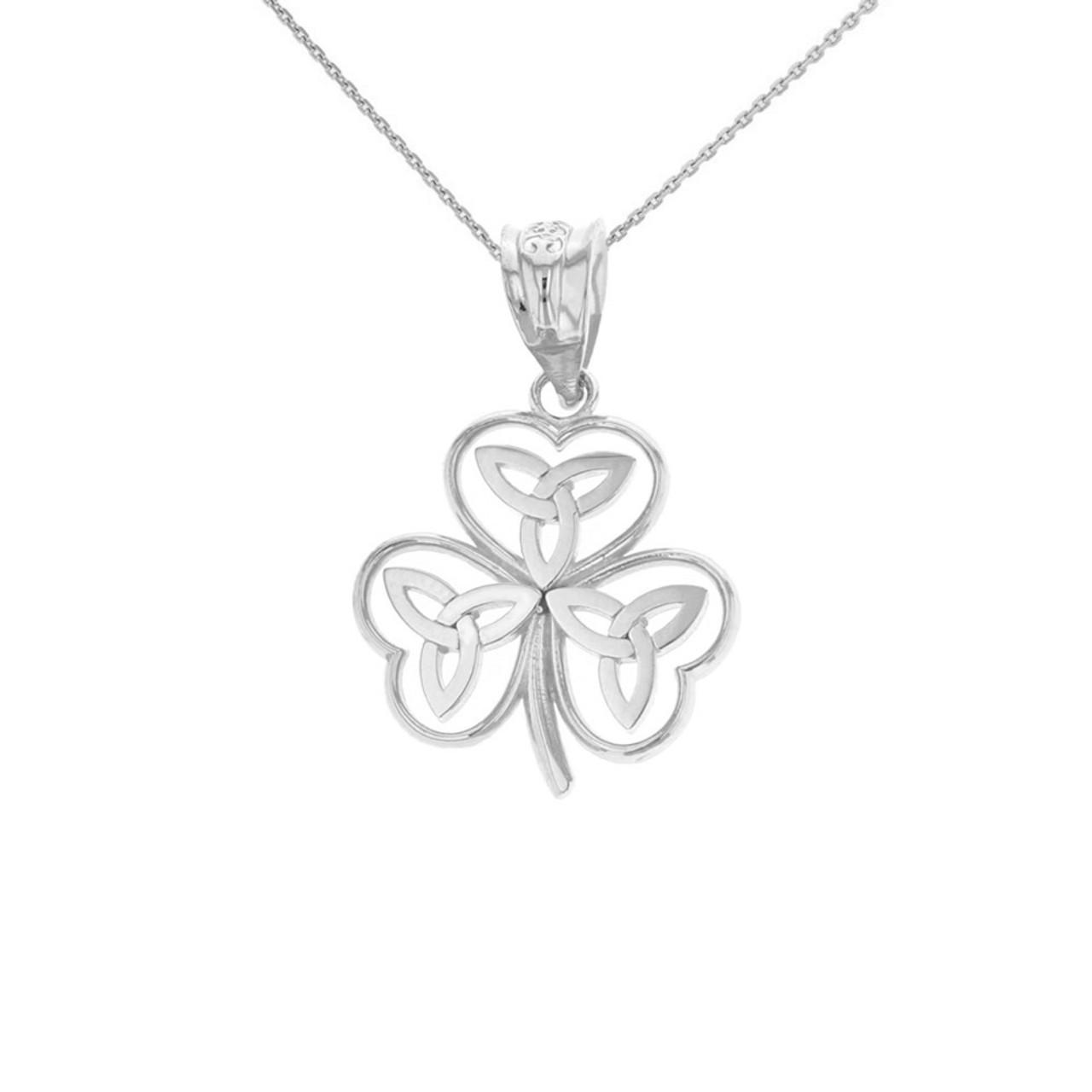 Solid white gold celtic trinity knot shamrock pendant necklace aloadofball Images