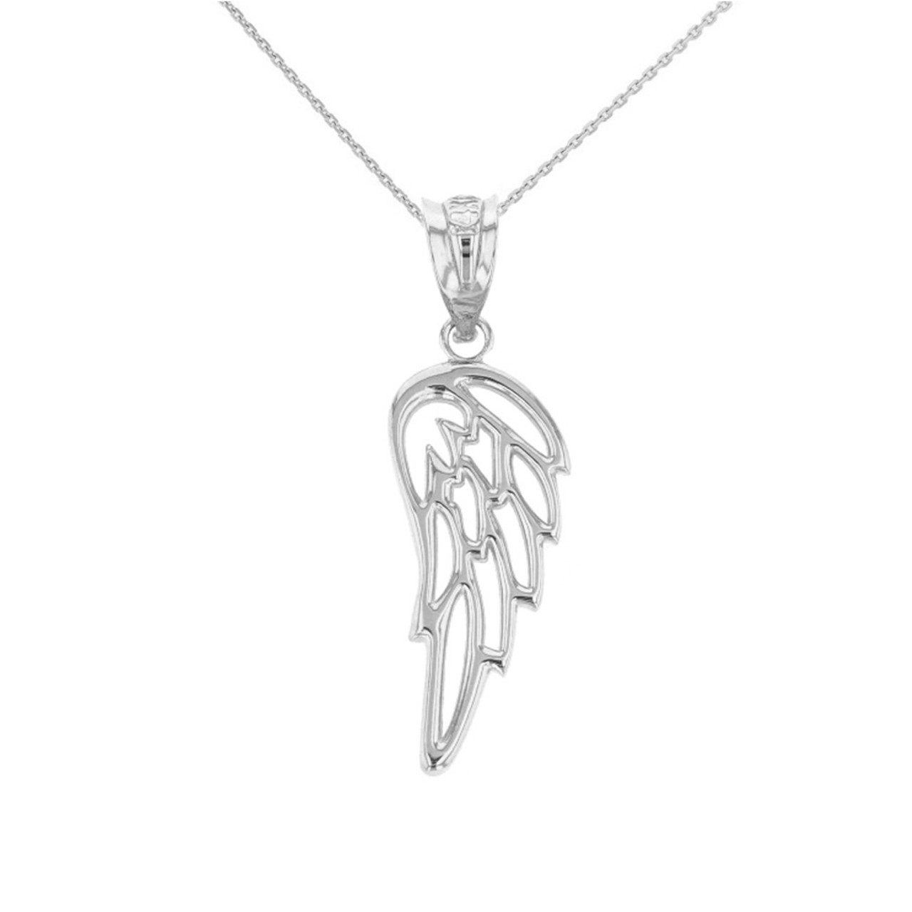 jewelry large wing bling pendant sterling silver angel feather heart