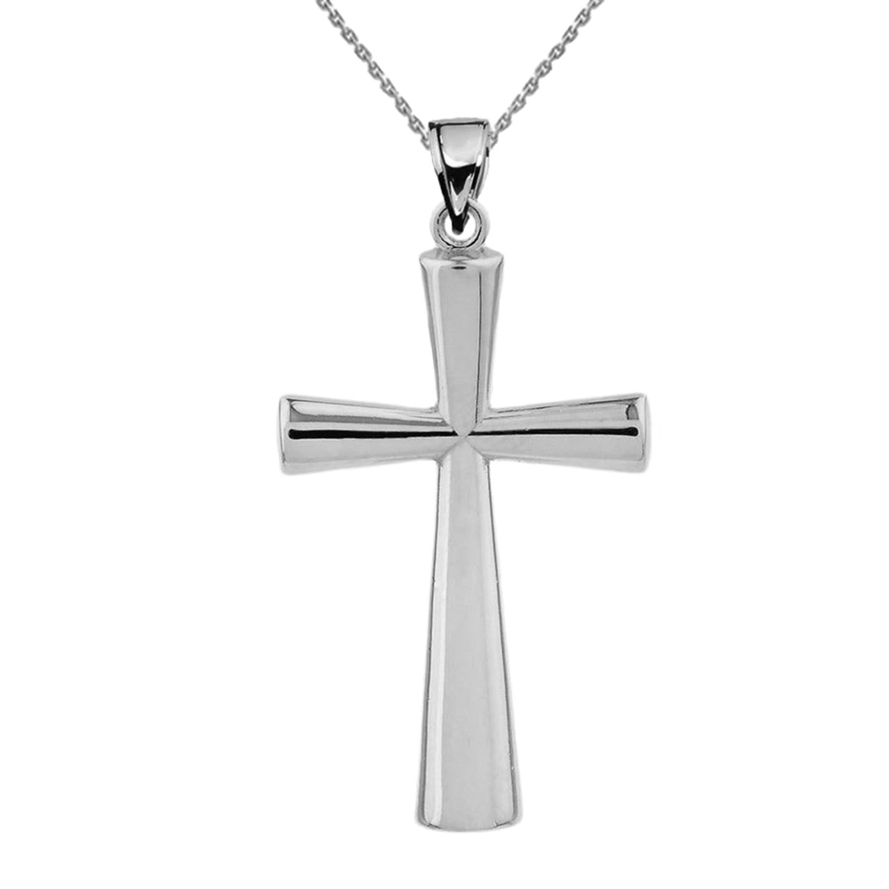 Solid white gold cross pendant aloadofball Image collections