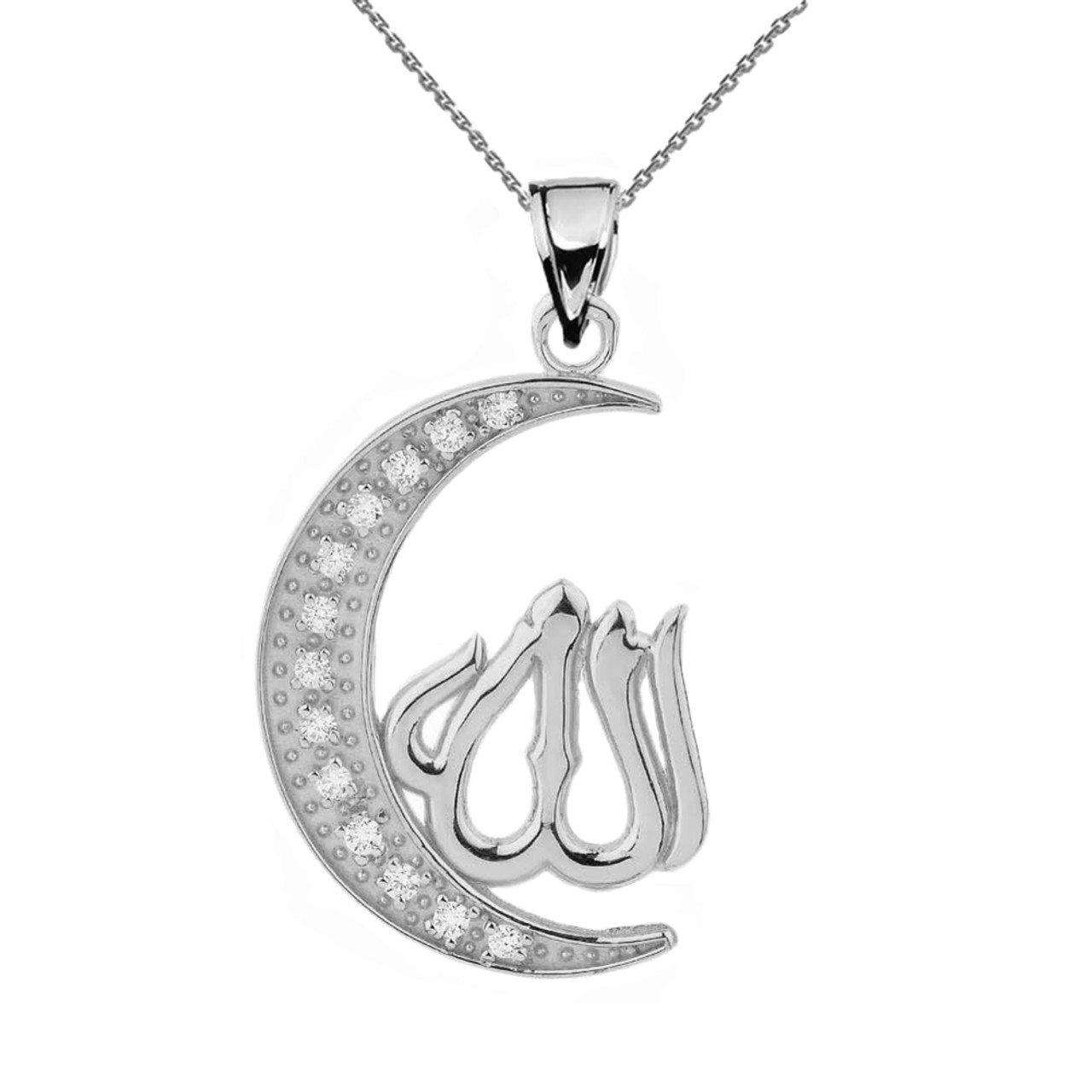 White gold with cubic zirconia moon and allah pendant necklace aloadofball Images