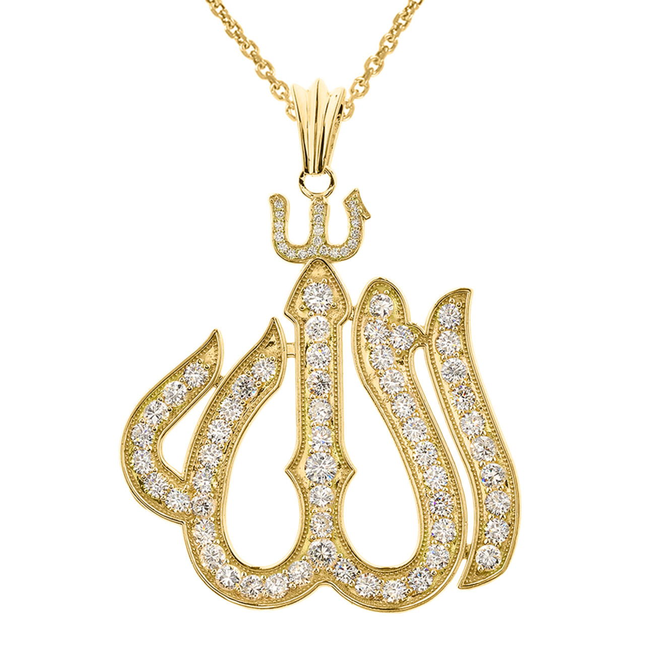Large yellow gold 14k diamond allah pendant aloadofball Images
