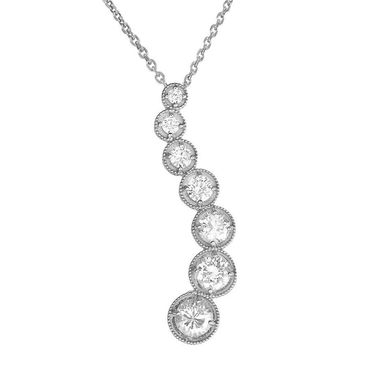White gold wavy diamond journey pendant white gold diamond journey pendant aloadofball Images