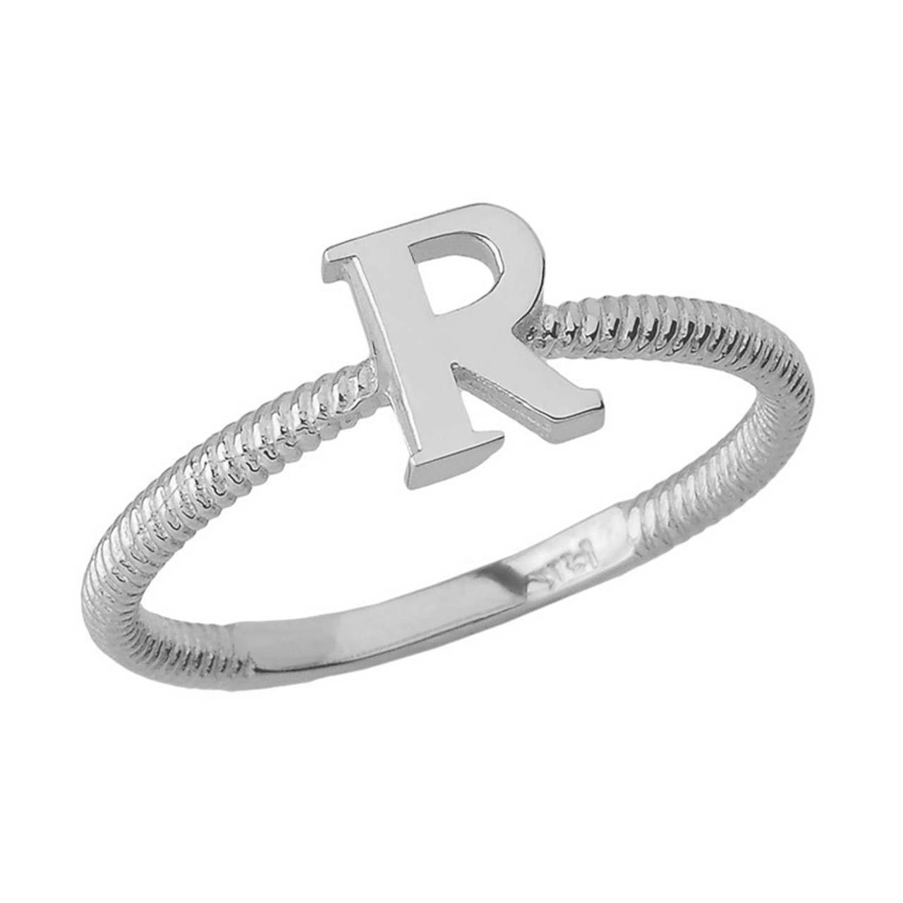 f3842b7e6ea00 Sterling Silver Alphabet Initial Letter R Stackable Ring