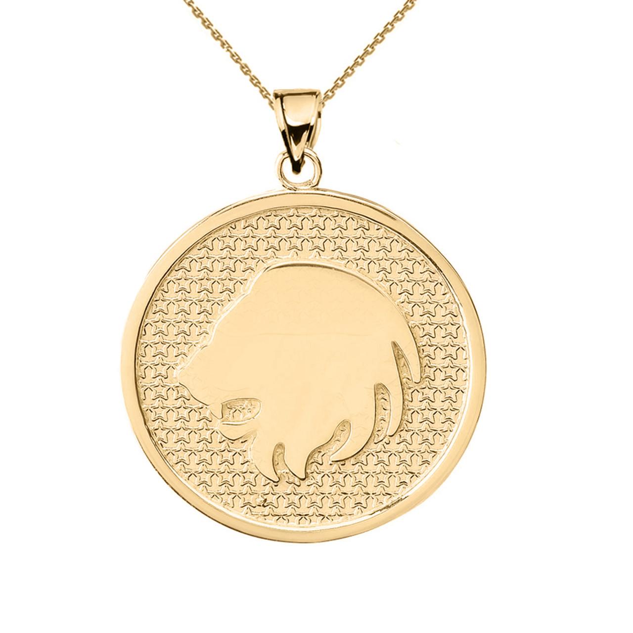 Yellow gold leo zodiac disc pendant necklace aloadofball Choice Image