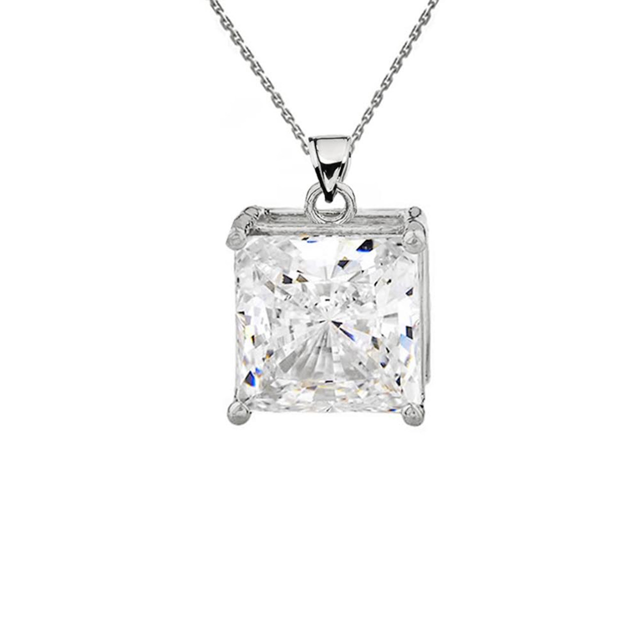 princess itm gold diamond pendant white women necklace cut solitaire