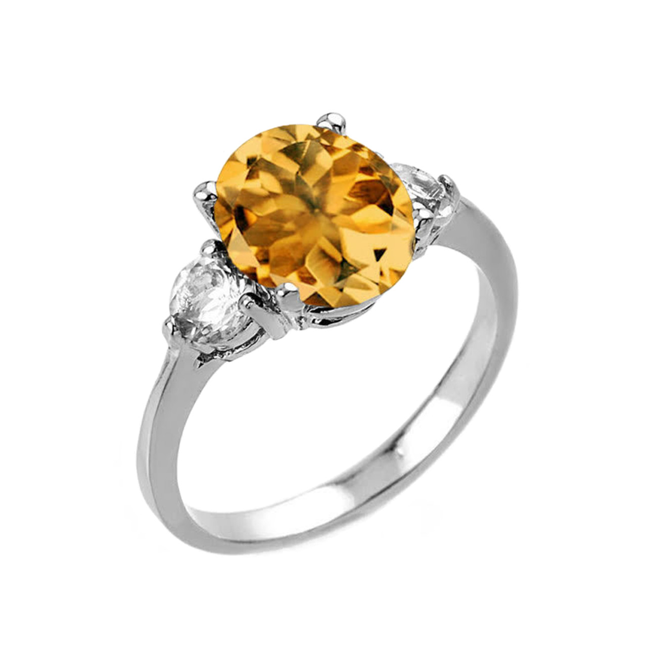 2.0 CTW Oval Golden Yellow Citrine Three Stone Engagement Ring in White Gold