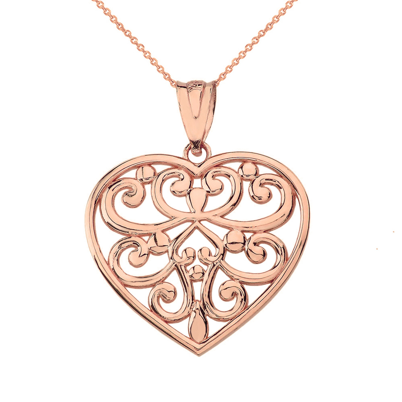 Solid rose gold filigree heart pendant necklace aloadofball Gallery