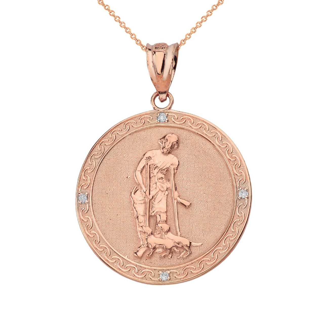 Solid rose gold saint lazarus engravable circle medallion diamond solid rose gold saint lazarus engravable circle medallion diamond pendant necklace small aloadofball Choice Image