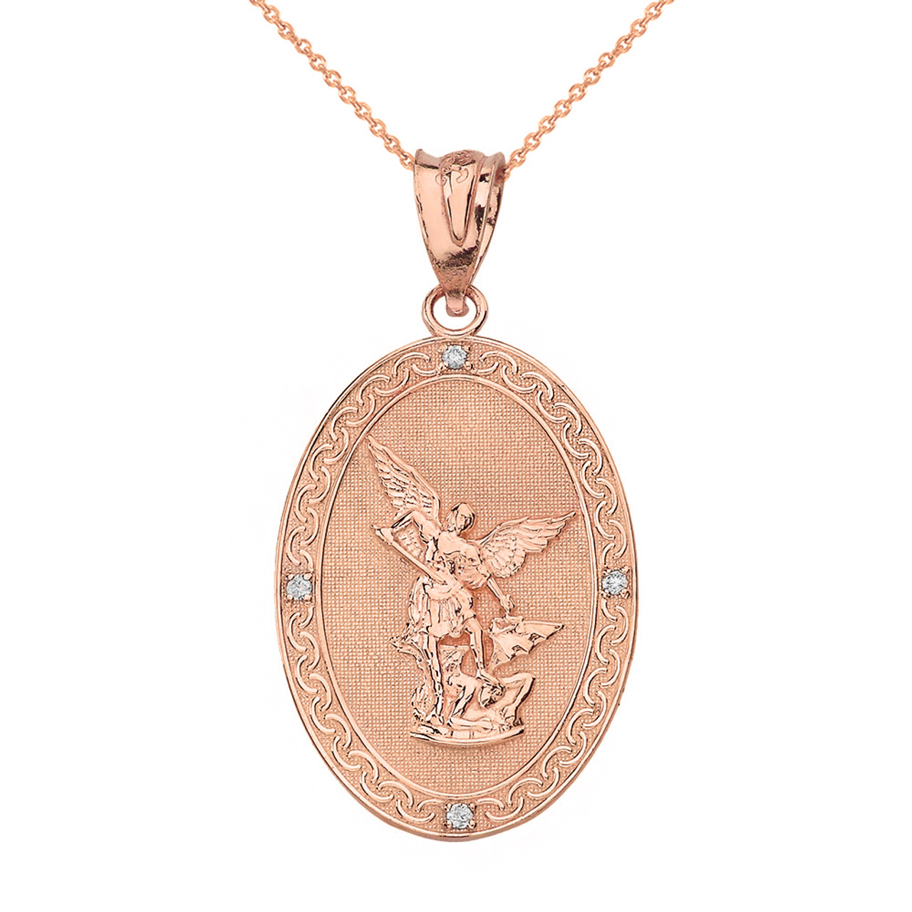 Solid Rose Gold Archangel Michael Oval Medallion Diamond Prayer