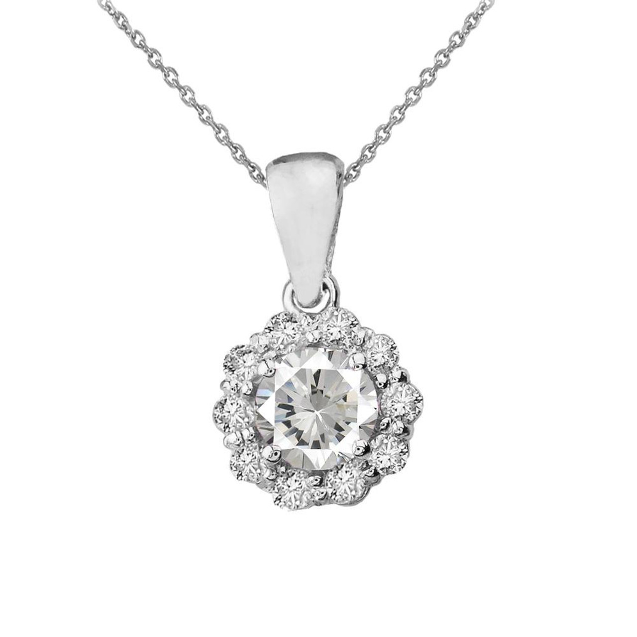 14k white gold dainty floral diamond center stone white topaz 14k white gold dainty floral diamond center stone white topaz pendant necklace aloadofball Choice Image