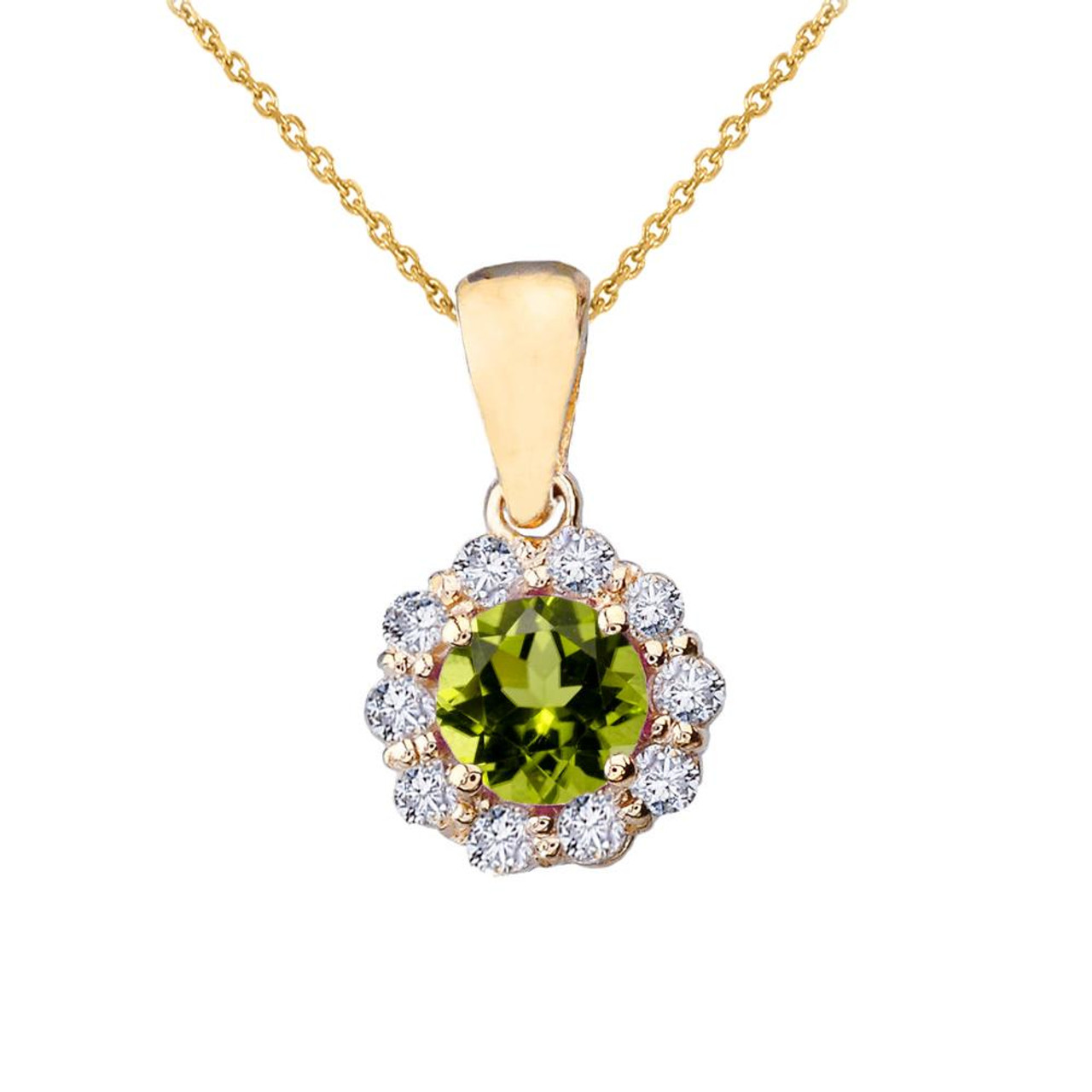 14k yellow gold dainty floral diamond center stone peridot pendant 14k yellow gold dainty floral diamond center stone peridot pendant necklace aloadofball Gallery