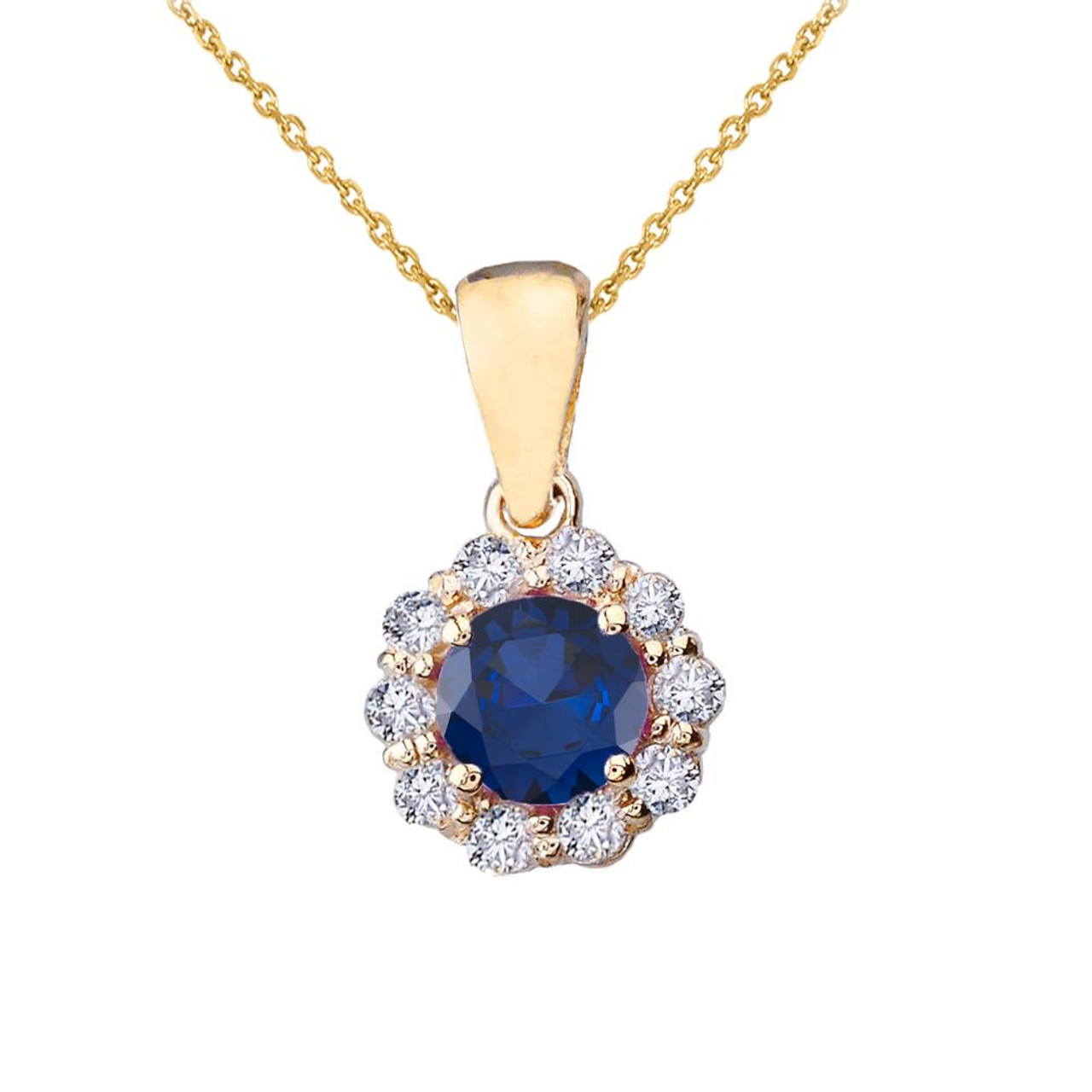 14k yellow gold dainty floral diamond center stone sapphire pendant 14k yellow gold dainty floral diamond center stone sapphire pendant necklace aloadofball Image collections