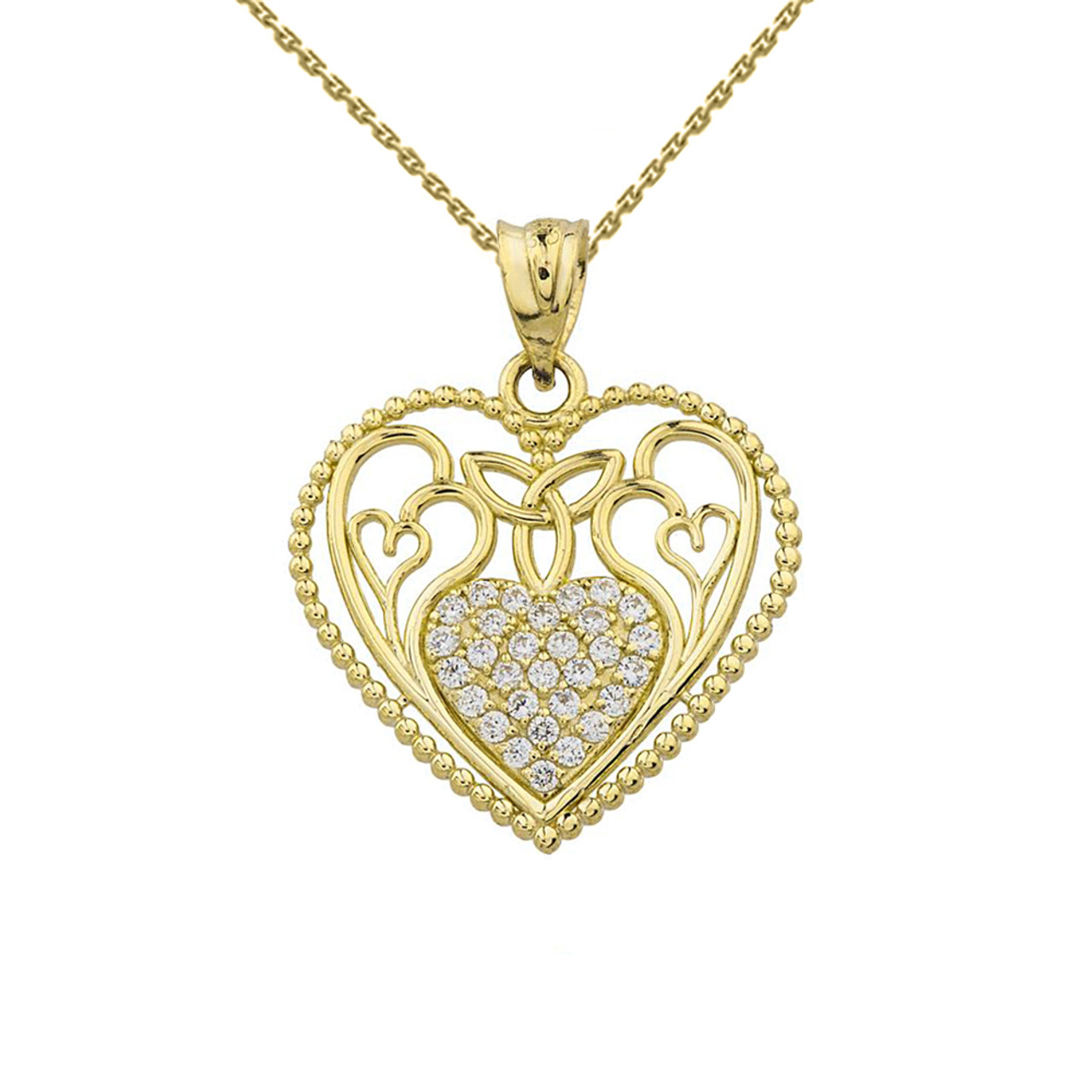 Diamond heart pendant with trinity knot and filigree hearts design diamond heart pendant with trinity knot and filigree hearts design in yellow gold aloadofball Gallery
