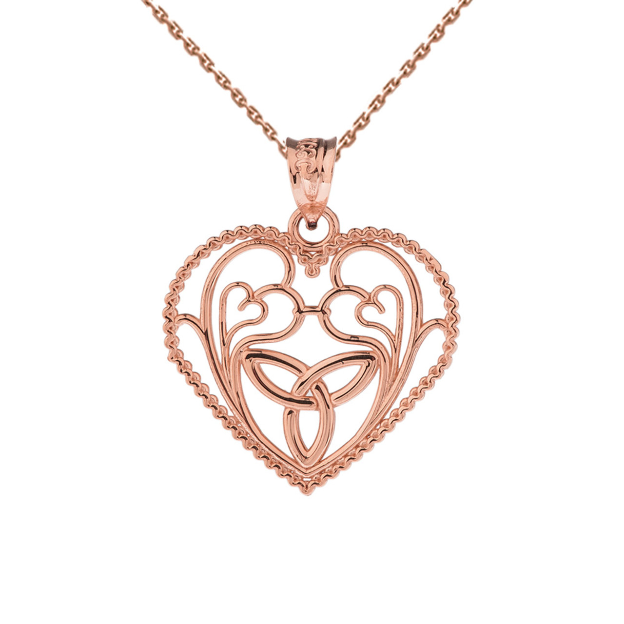Rose gold rope heart pendant with trinity knot and filigree hearts rose gold rope heart pendant with trinity knot and filigree hearts design aloadofball Gallery