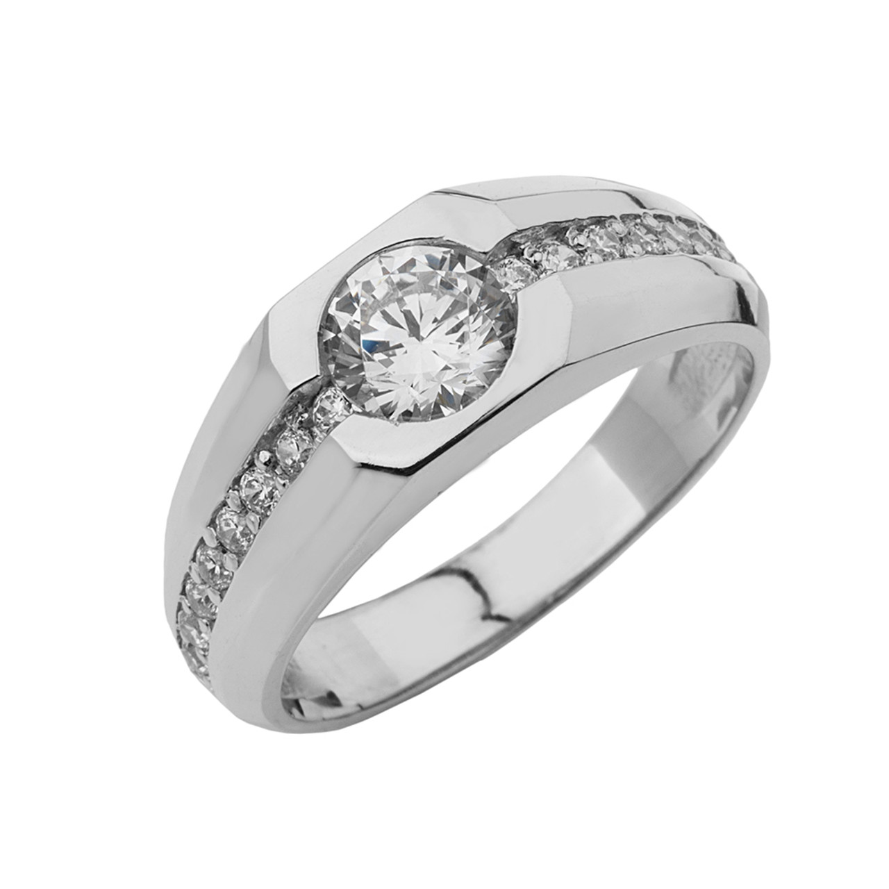 white gold mens diamond solitaire ring with 1 12 white topaz center stone. Black Bedroom Furniture Sets. Home Design Ideas