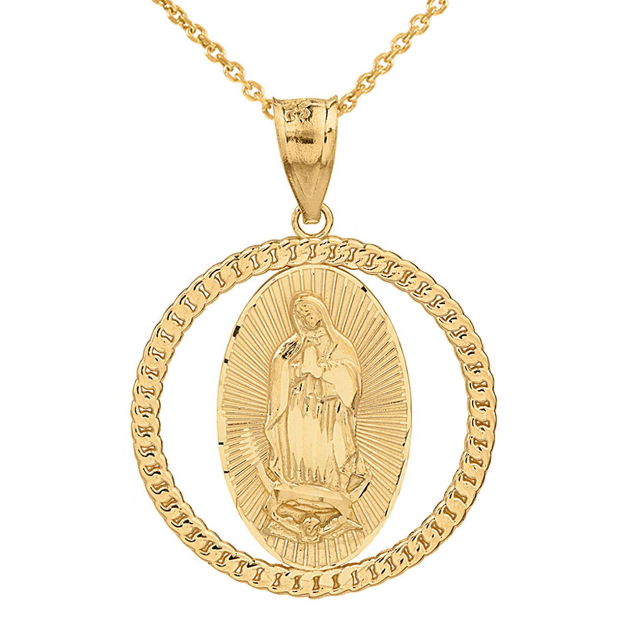 Yellow gold cuban link circle frame diamond cut lady of guadalupe solid yellow gold cuban link circle frame diamond cut lady of guadalupe pendant necklace mozeypictures Choice Image